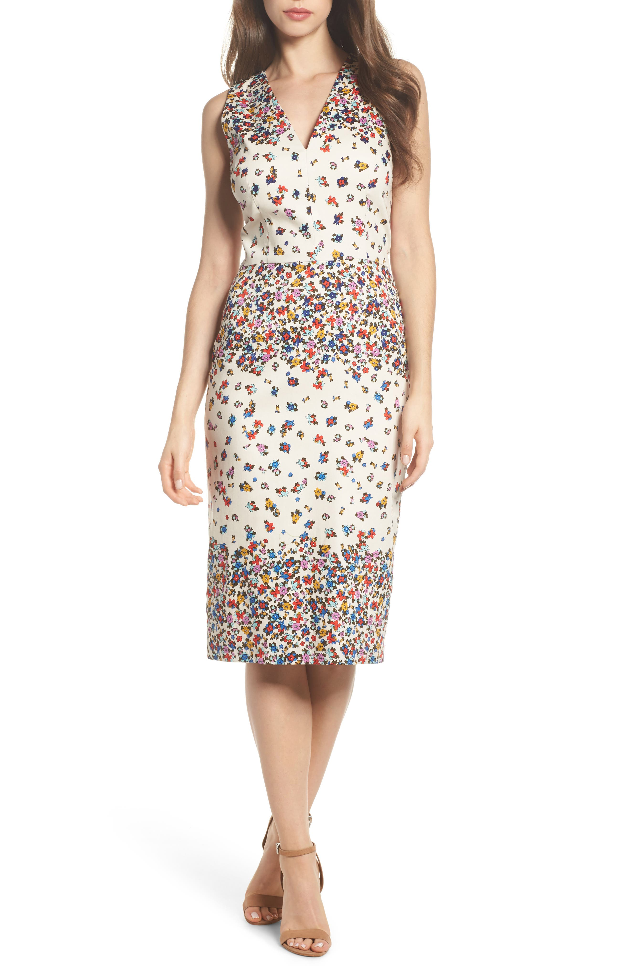 Placed Print Sateen Sheath Dress,                             Main thumbnail 1, color,                             Sandy/ Cream
