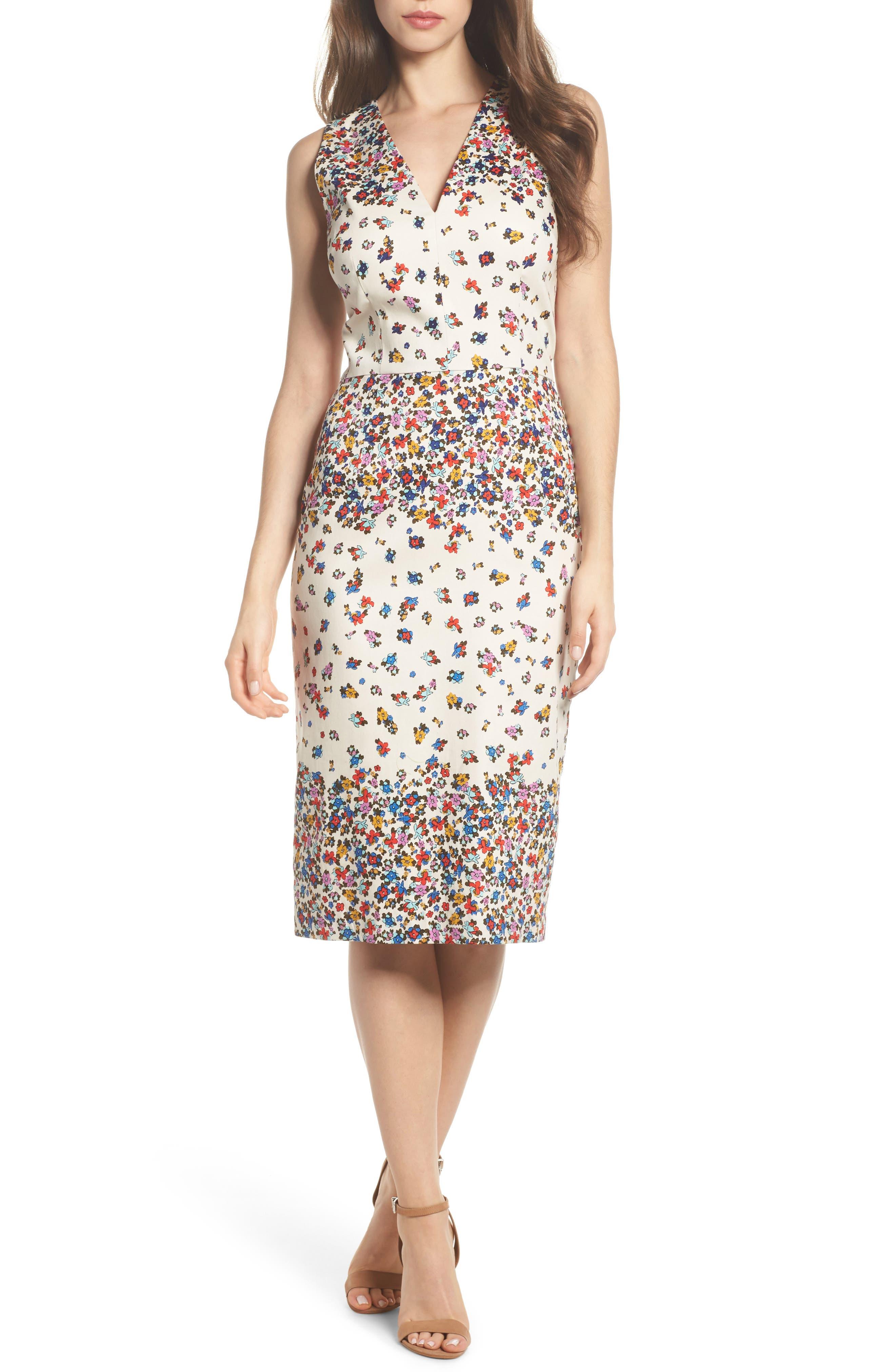 Placed Print Sateen Sheath Dress,                         Main,                         color, Sandy/ Cream