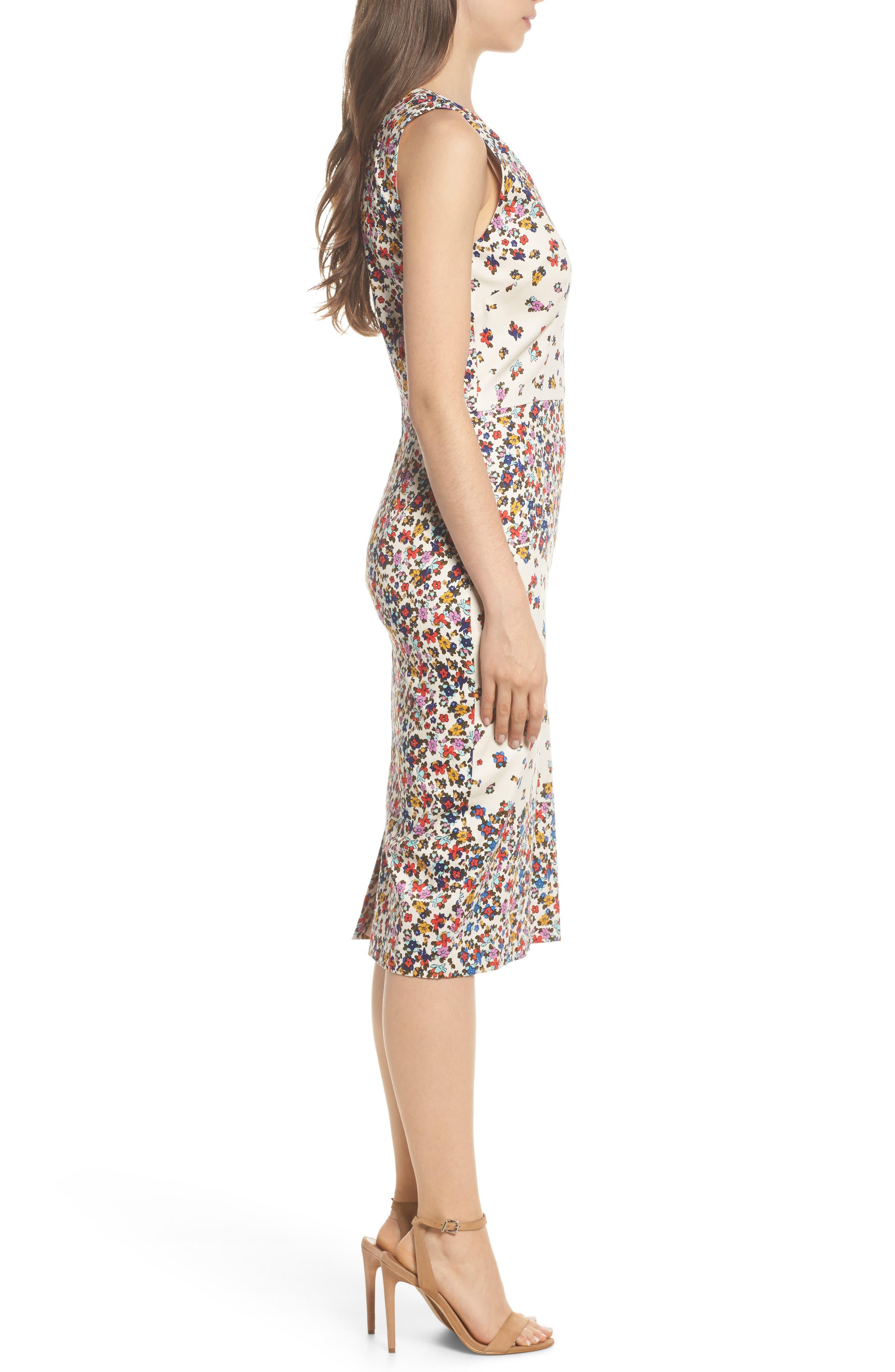 Placed Print Sateen Sheath Dress,                             Alternate thumbnail 3, color,                             Sandy/ Cream