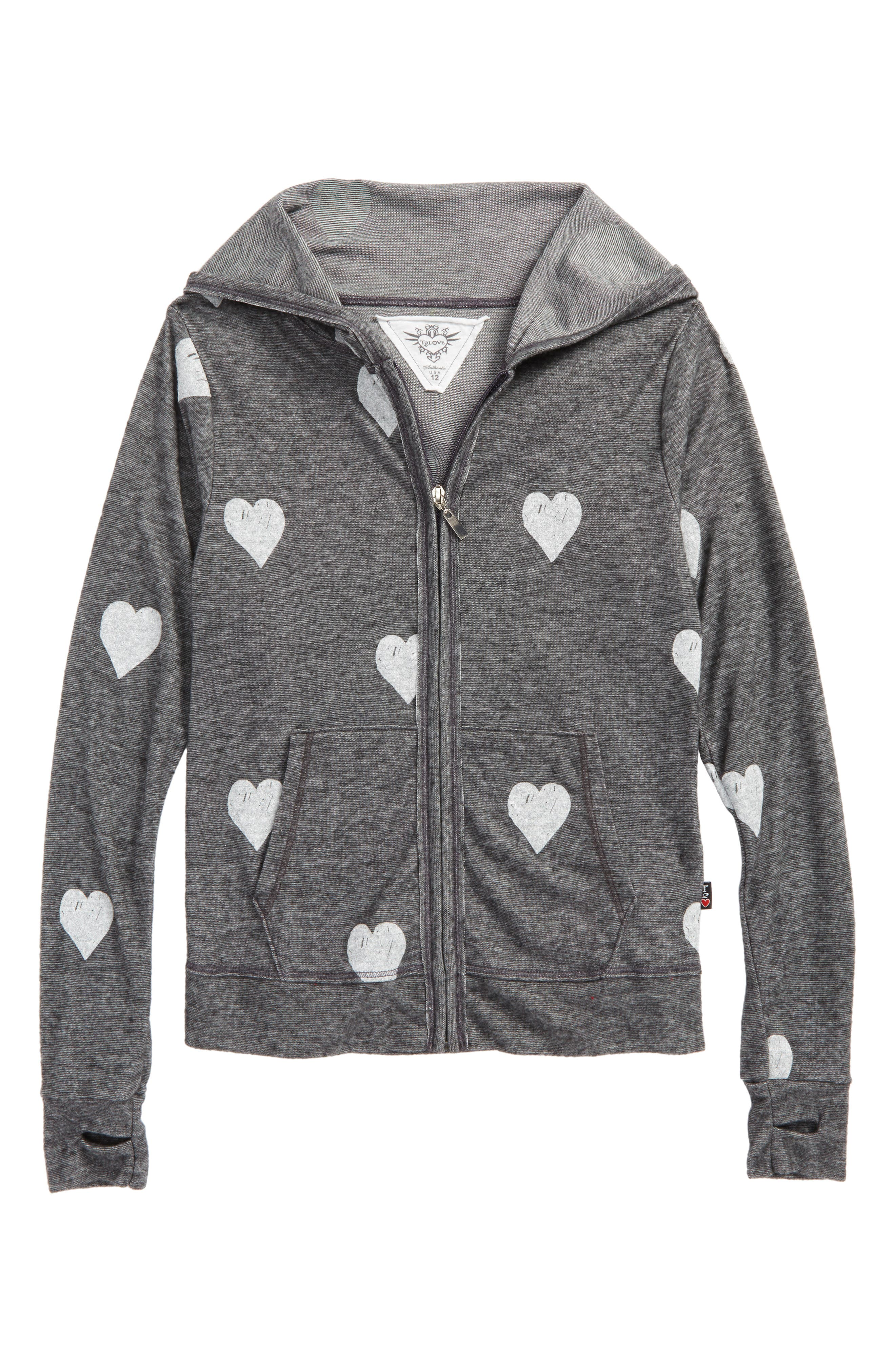 Main Image - T2 Love Allover Heart Zip Hoodie (Big Girls)