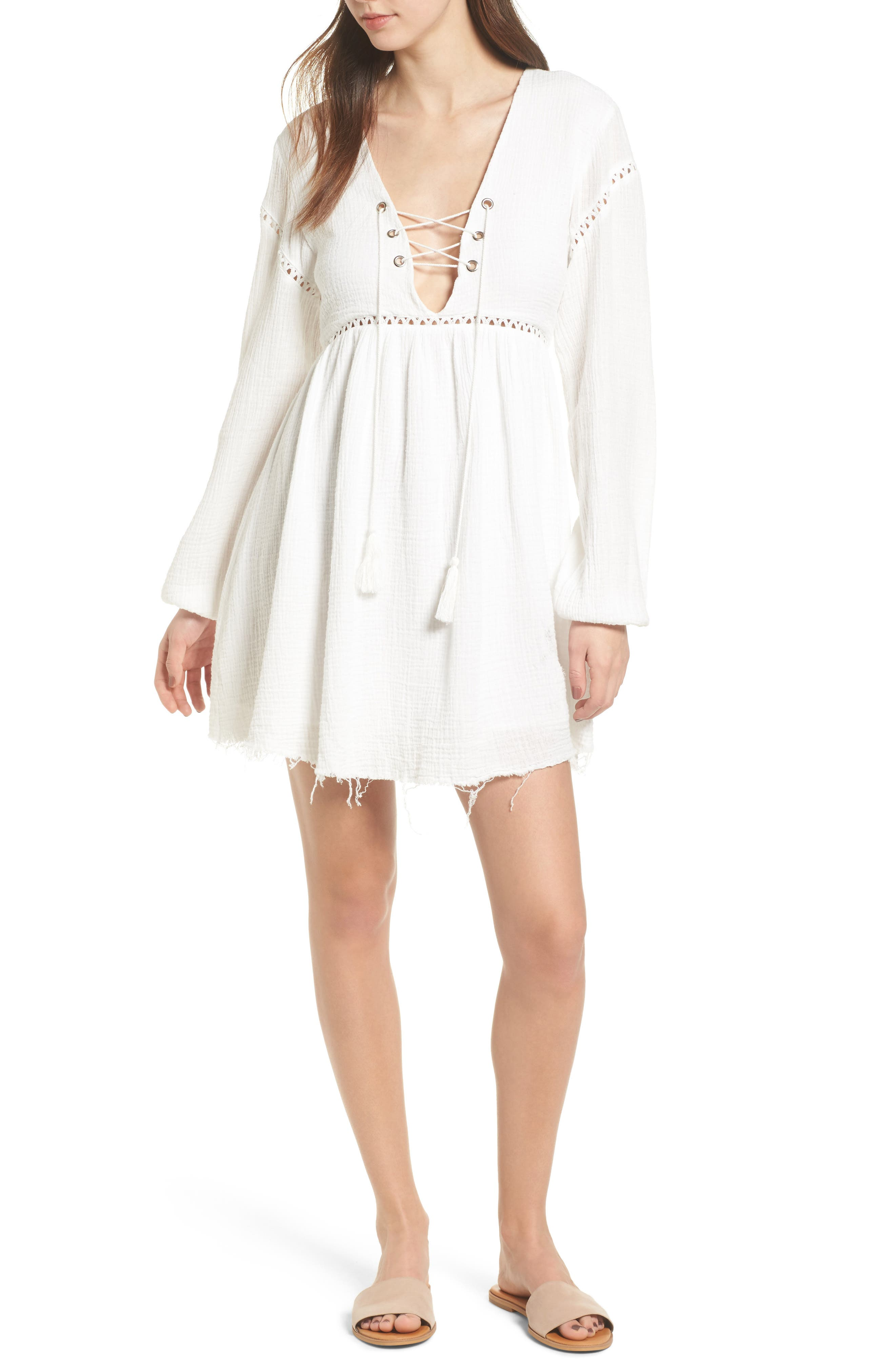 Sliding Currents Babydoll Dress,                             Main thumbnail 1, color,                             Off White