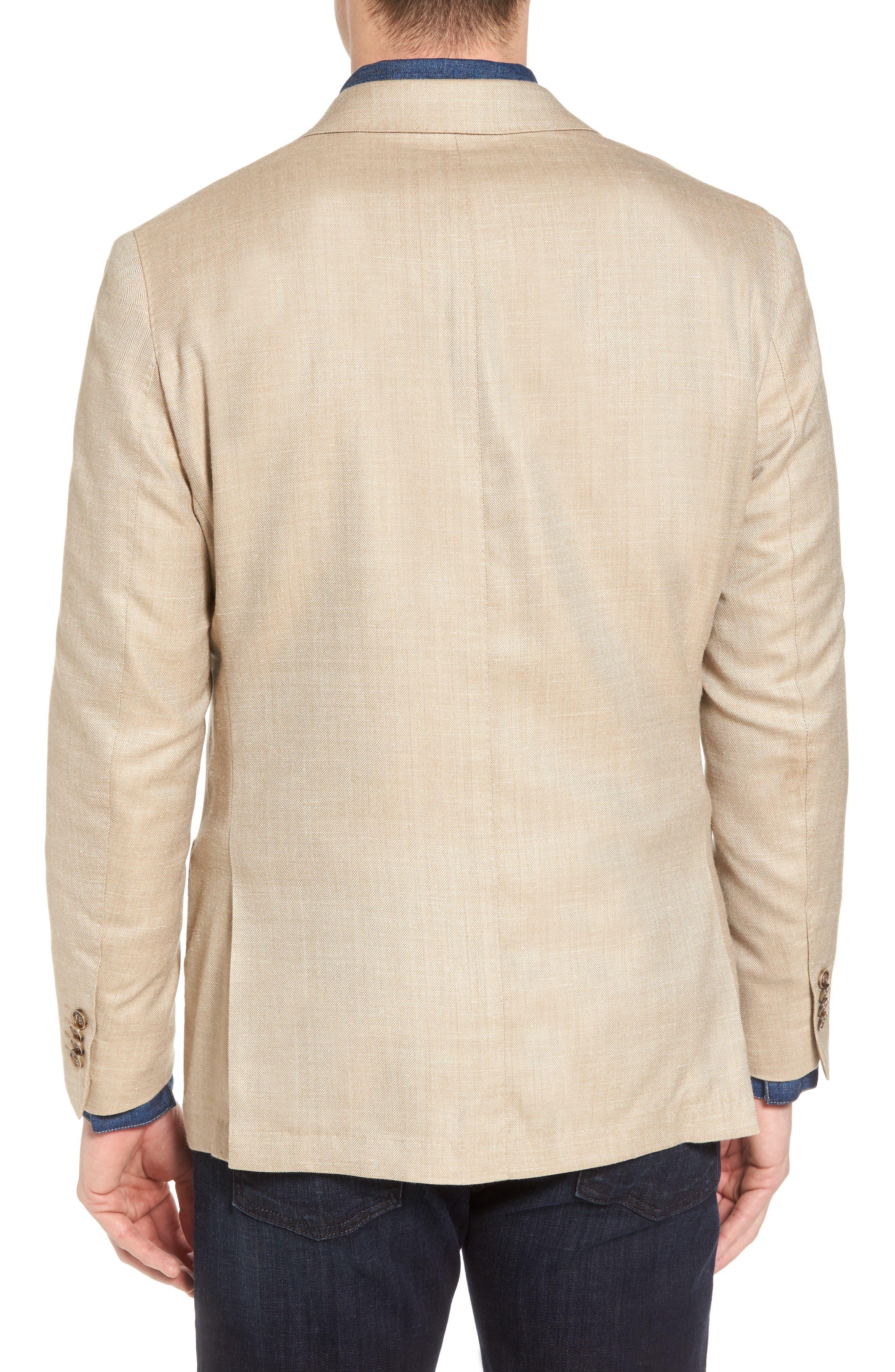 Crown Herringbone Wool & Silk Blend Jacket,                             Alternate thumbnail 2, color,                             Stone