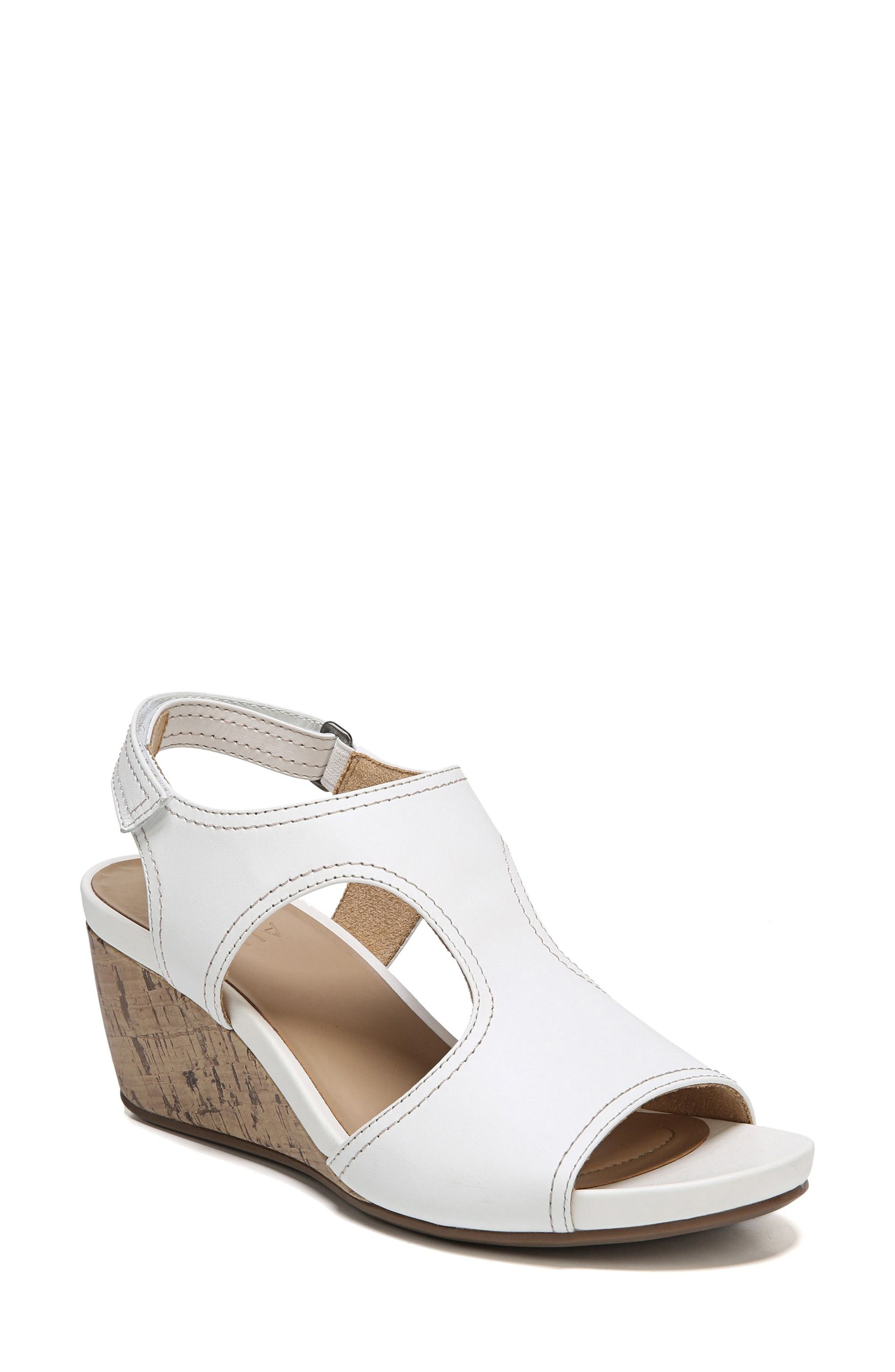 Cinda Wedge Sandal,                         Main,                         color, White Leather