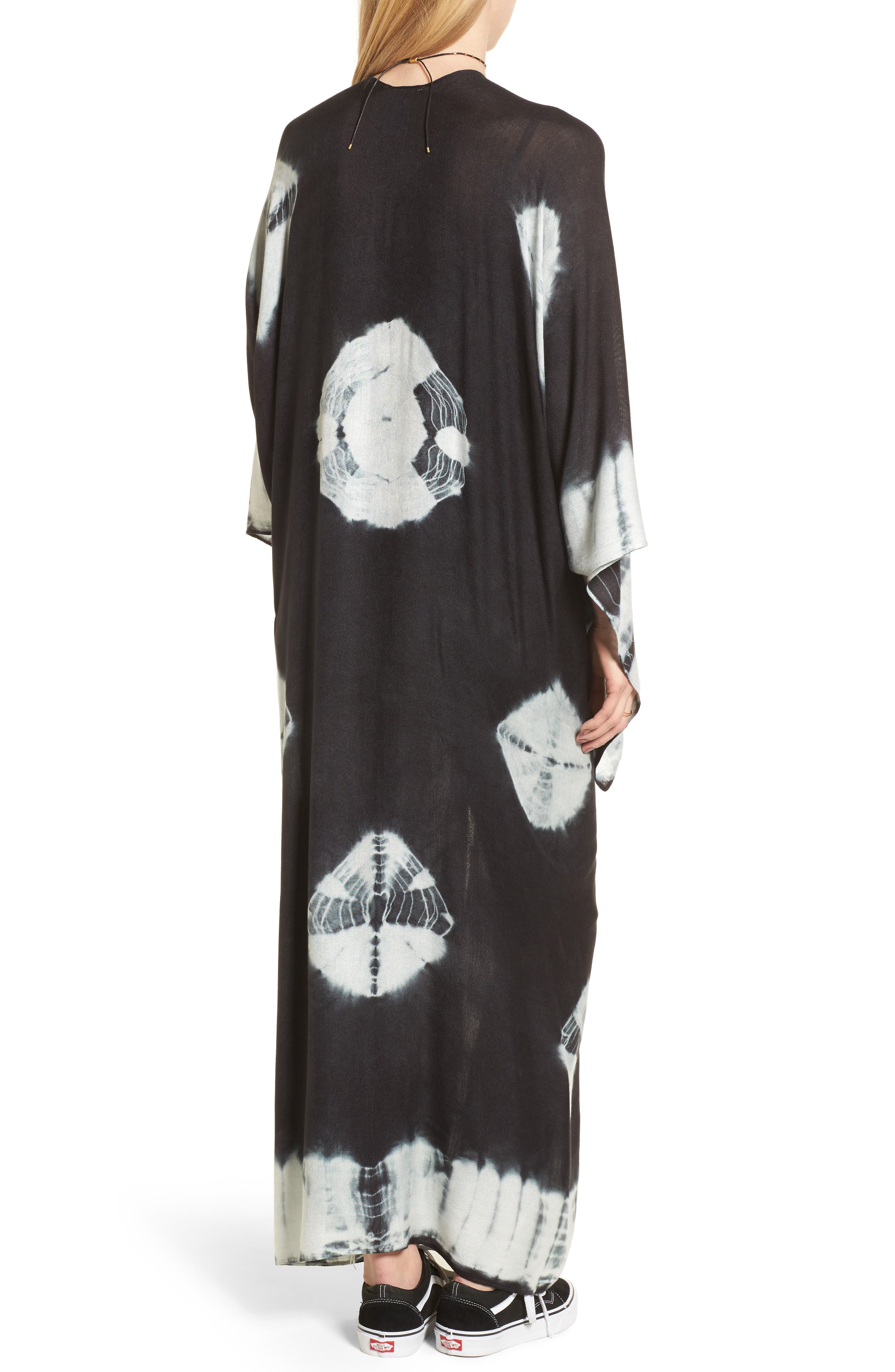 Spellbound Tie Dye Kimono Duster,                             Alternate thumbnail 2, color,                             Black