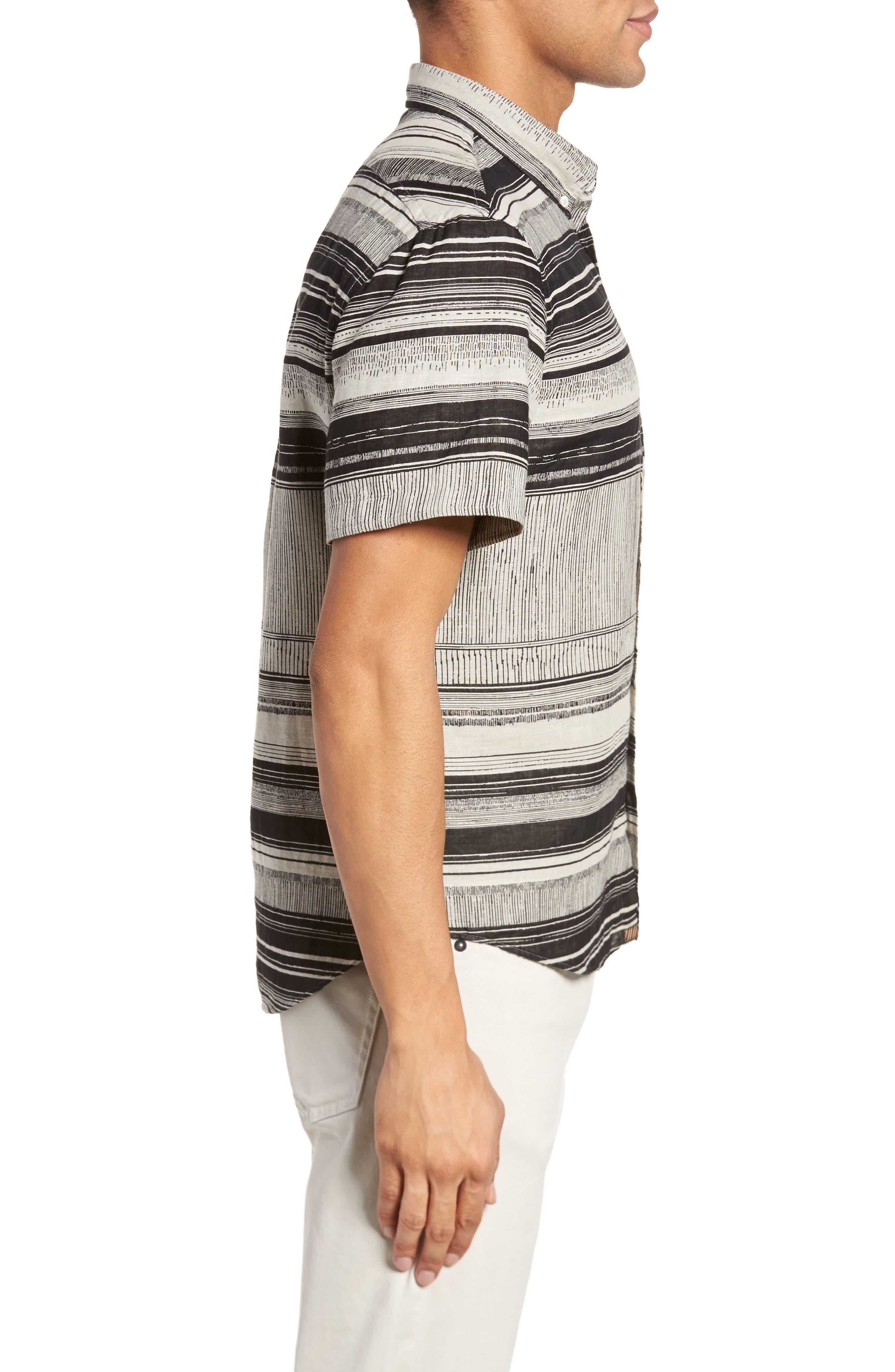 Murphy Stripe Short Sleeve Sport Shirt,                             Alternate thumbnail 3, color,                             Black/ White