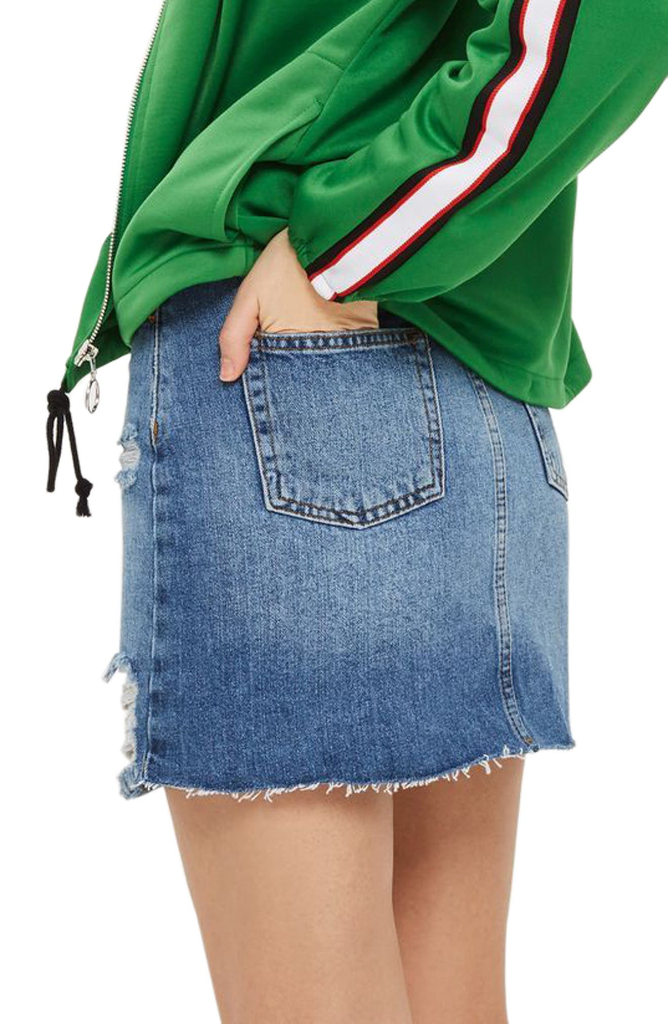 Alternate Image 2  - Topshop Ripped Denim Miniskirt