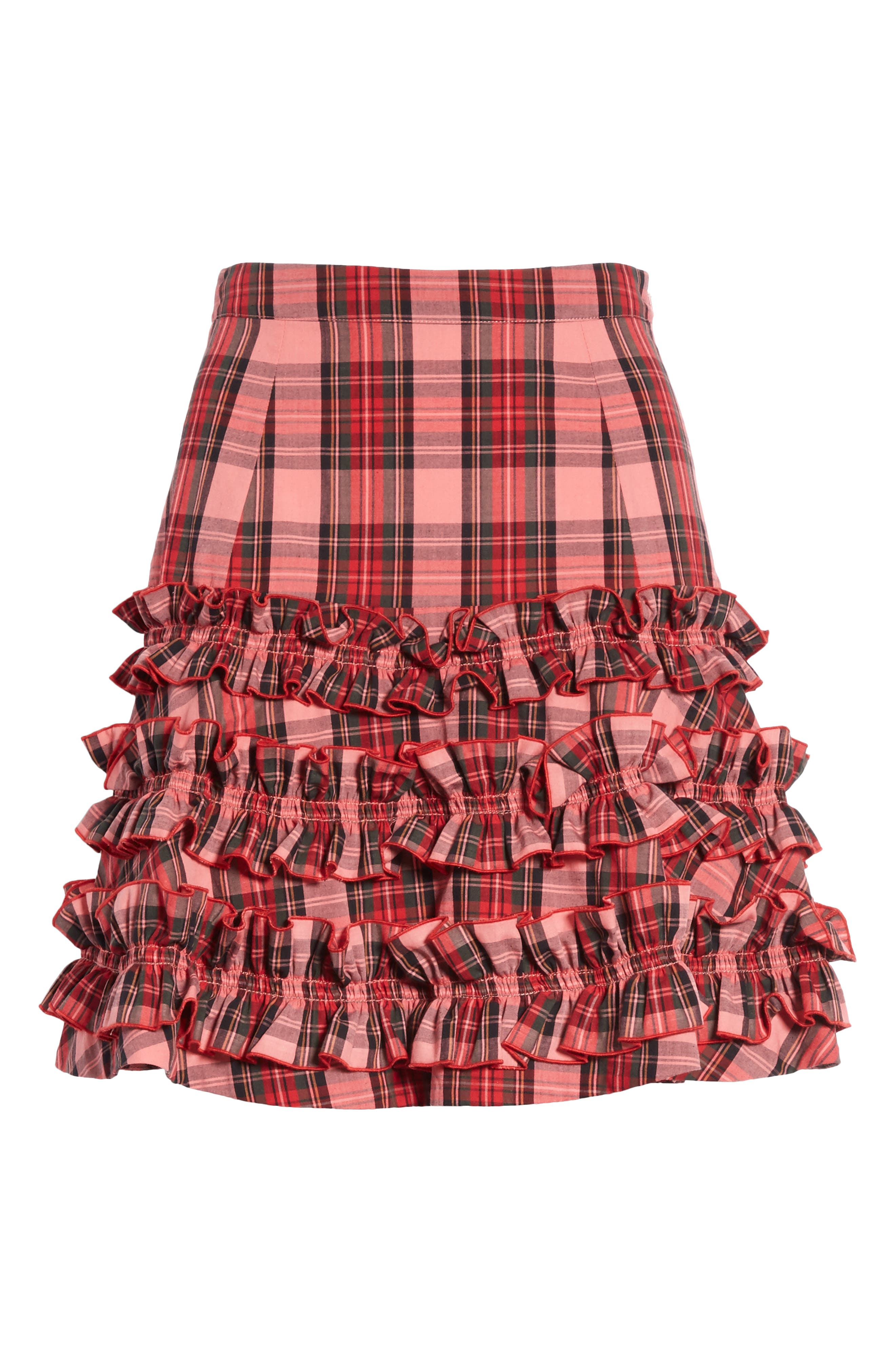 Em Ruffle Tartan Skirt,                             Alternate thumbnail 6, color,                             Pink