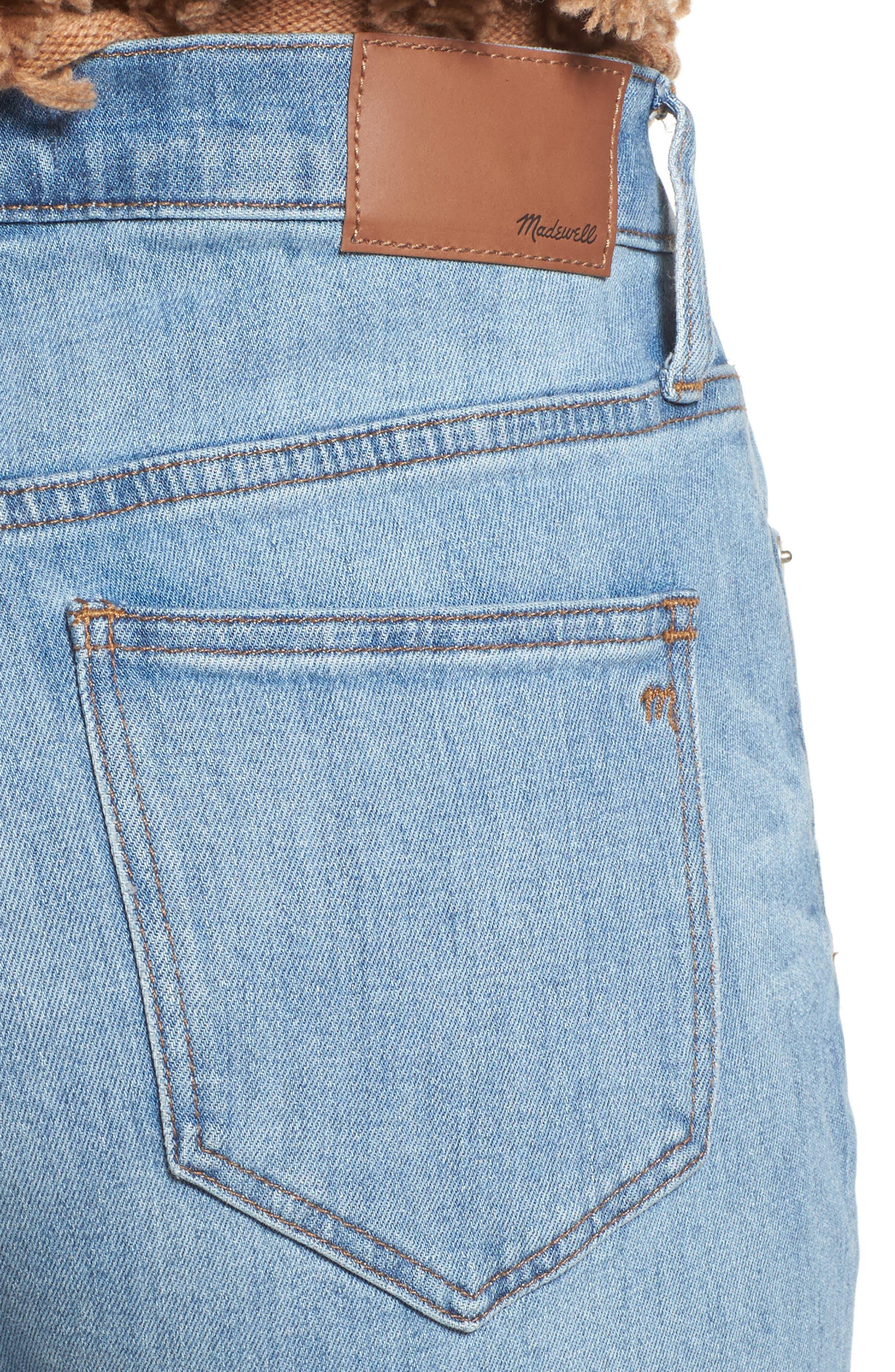 Cruiser Pieced High Waist Straight Leg Jeans,                             Alternate thumbnail 4, color,                             Travis Wash