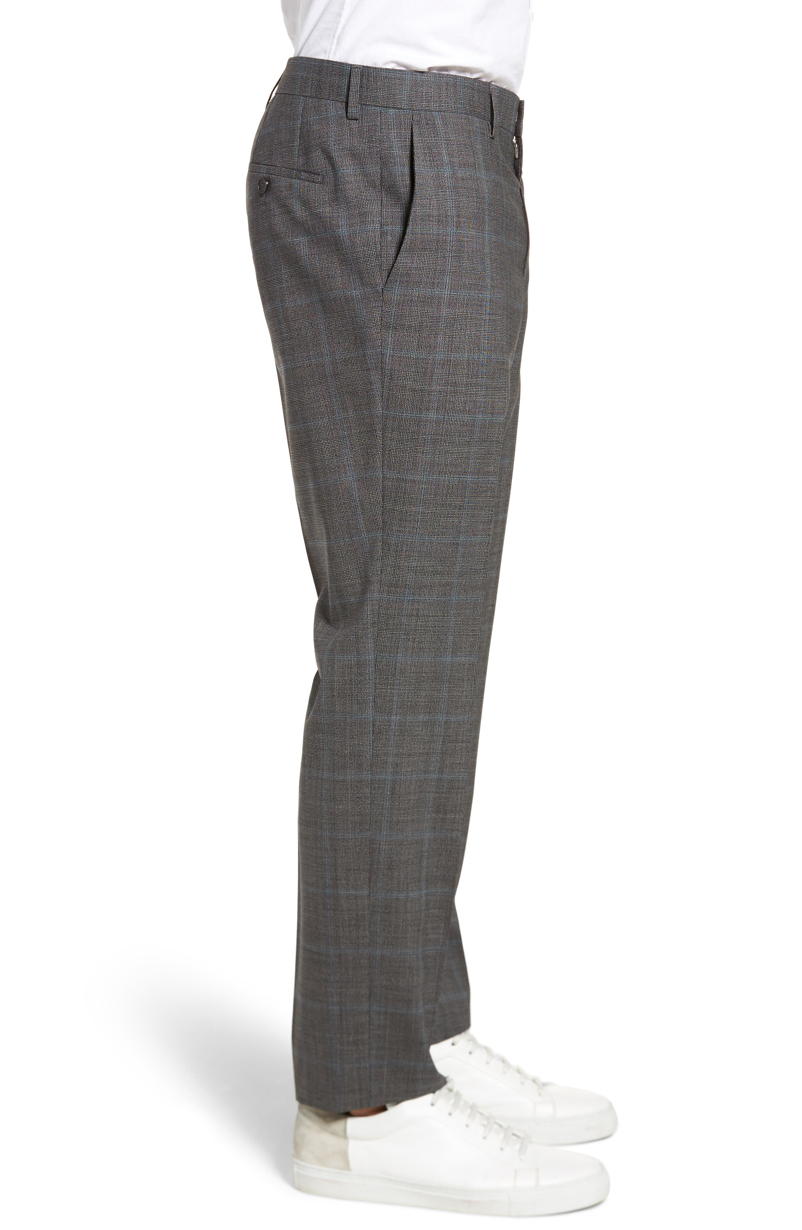 Genesis Flat Front Plaid Wool Trousers,                             Alternate thumbnail 3, color,                             Open Grey