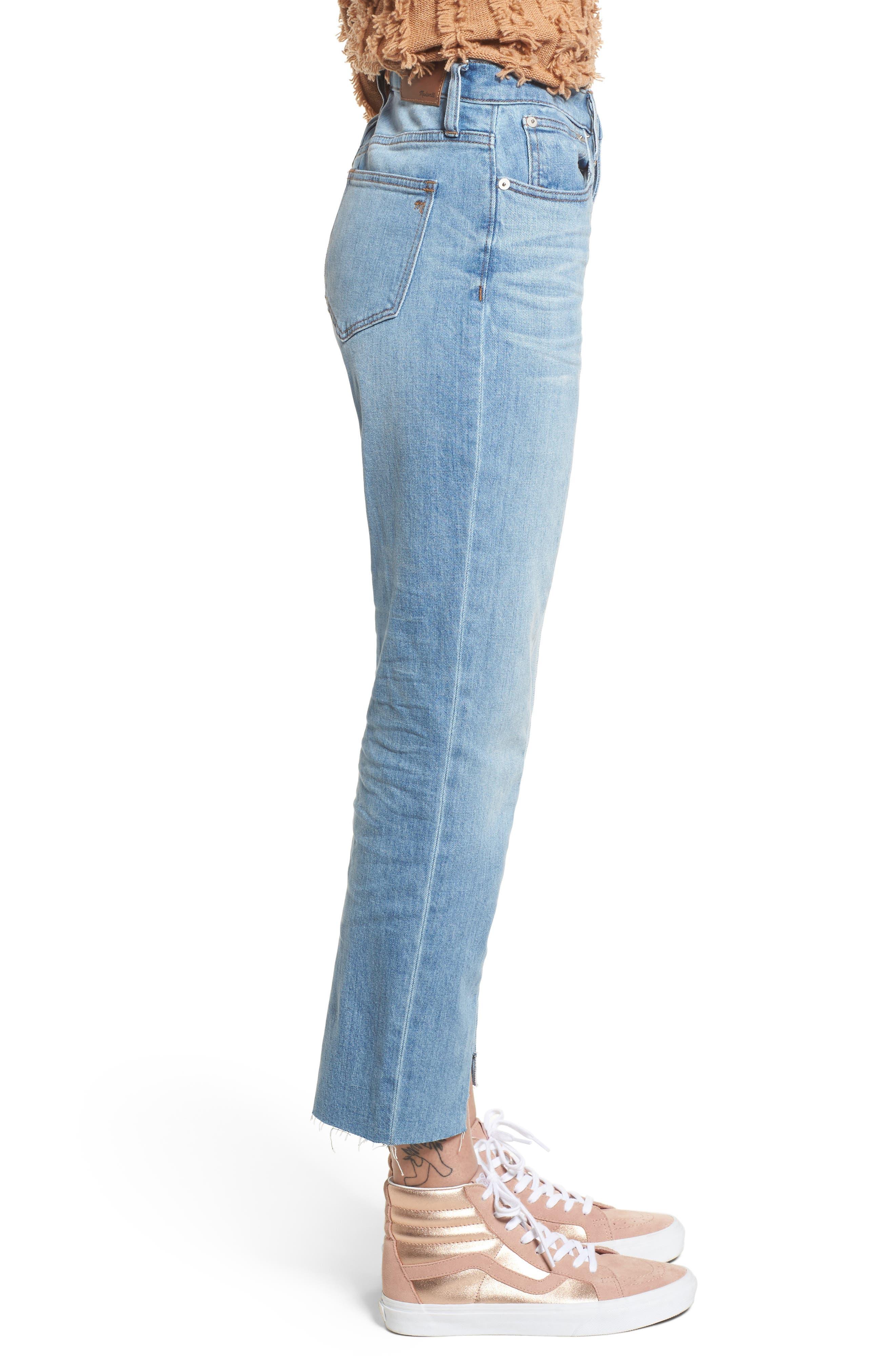 Cruiser Pieced High Waist Straight Leg Jeans,                             Alternate thumbnail 3, color,                             Travis Wash
