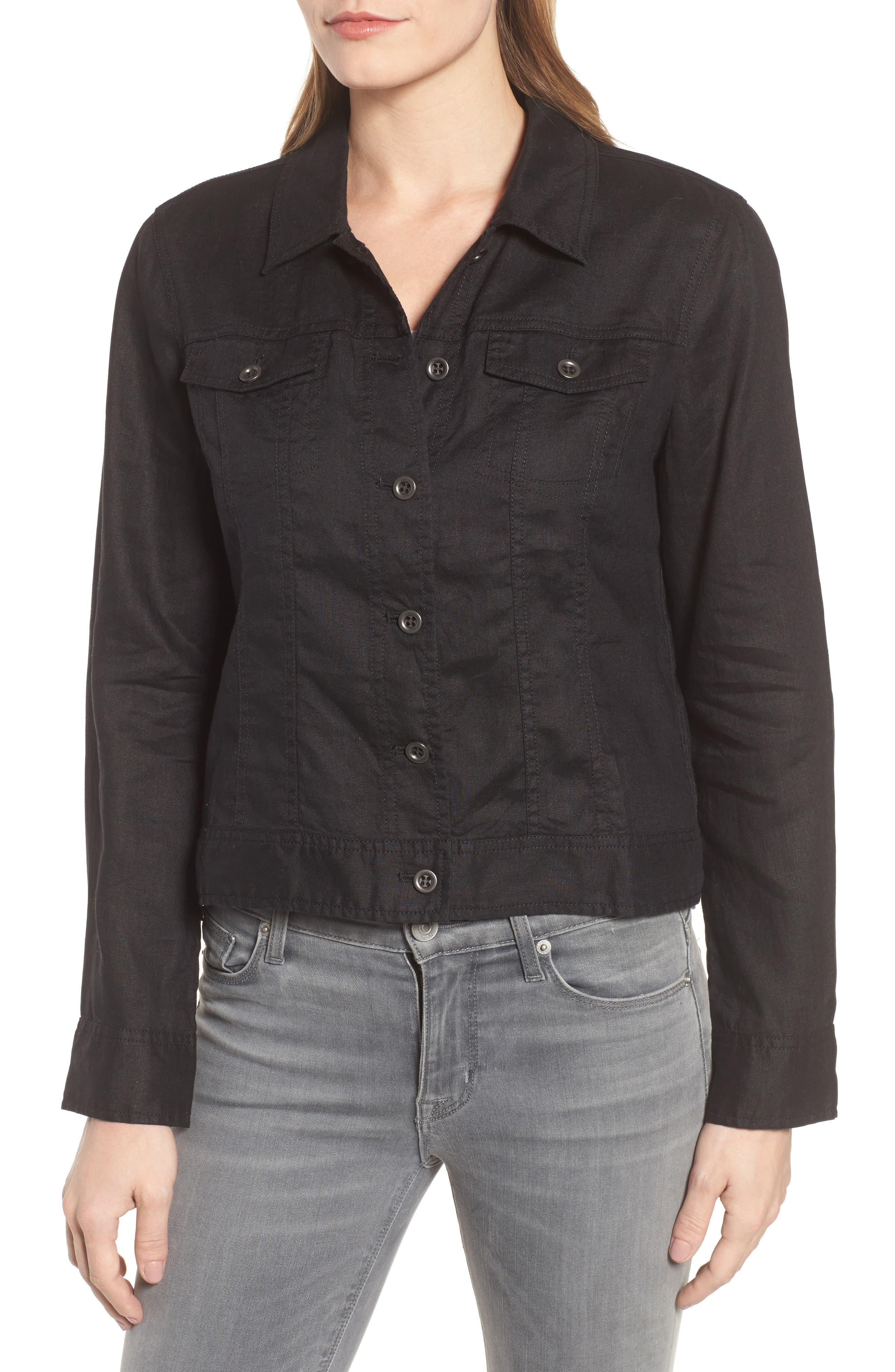 Crop Organic Linen Jacket,                             Alternate thumbnail 4, color,                             Black