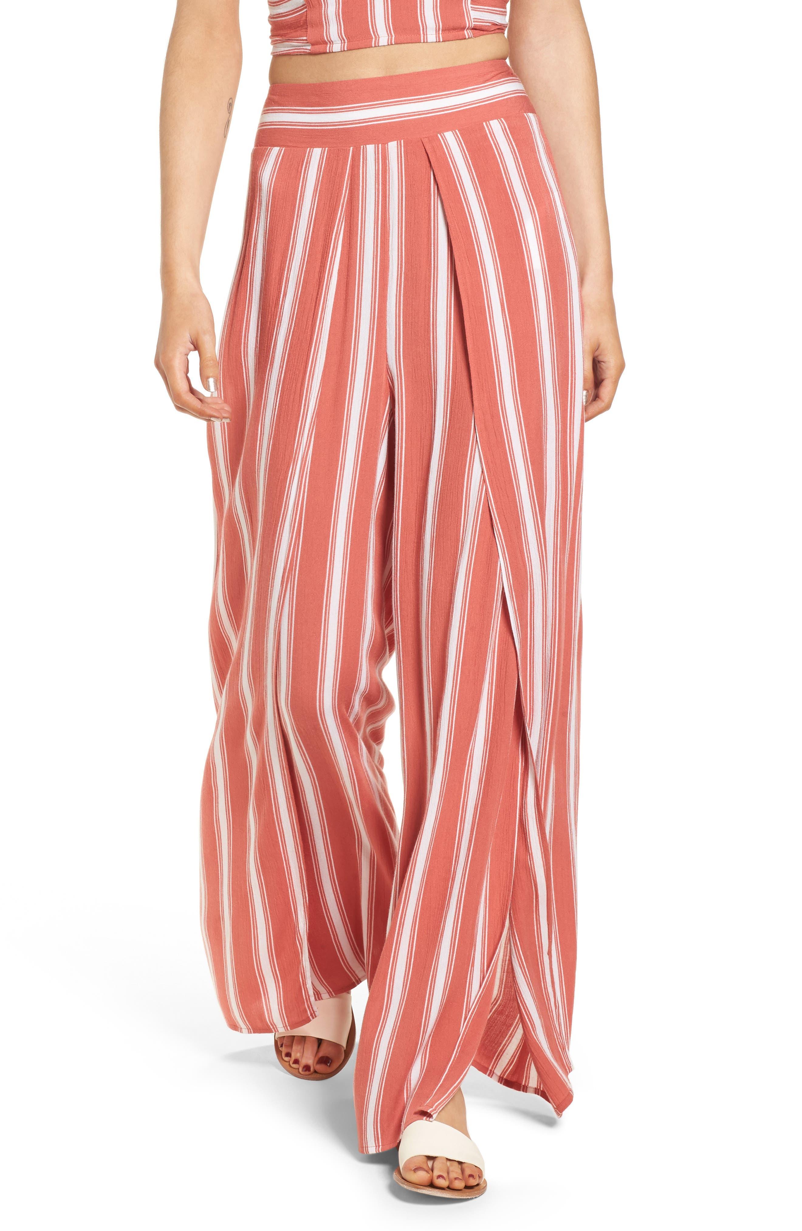 Stripe Split Leg Walkthrough Pants,                         Main,                         color, Dusty Coral/ Ivory