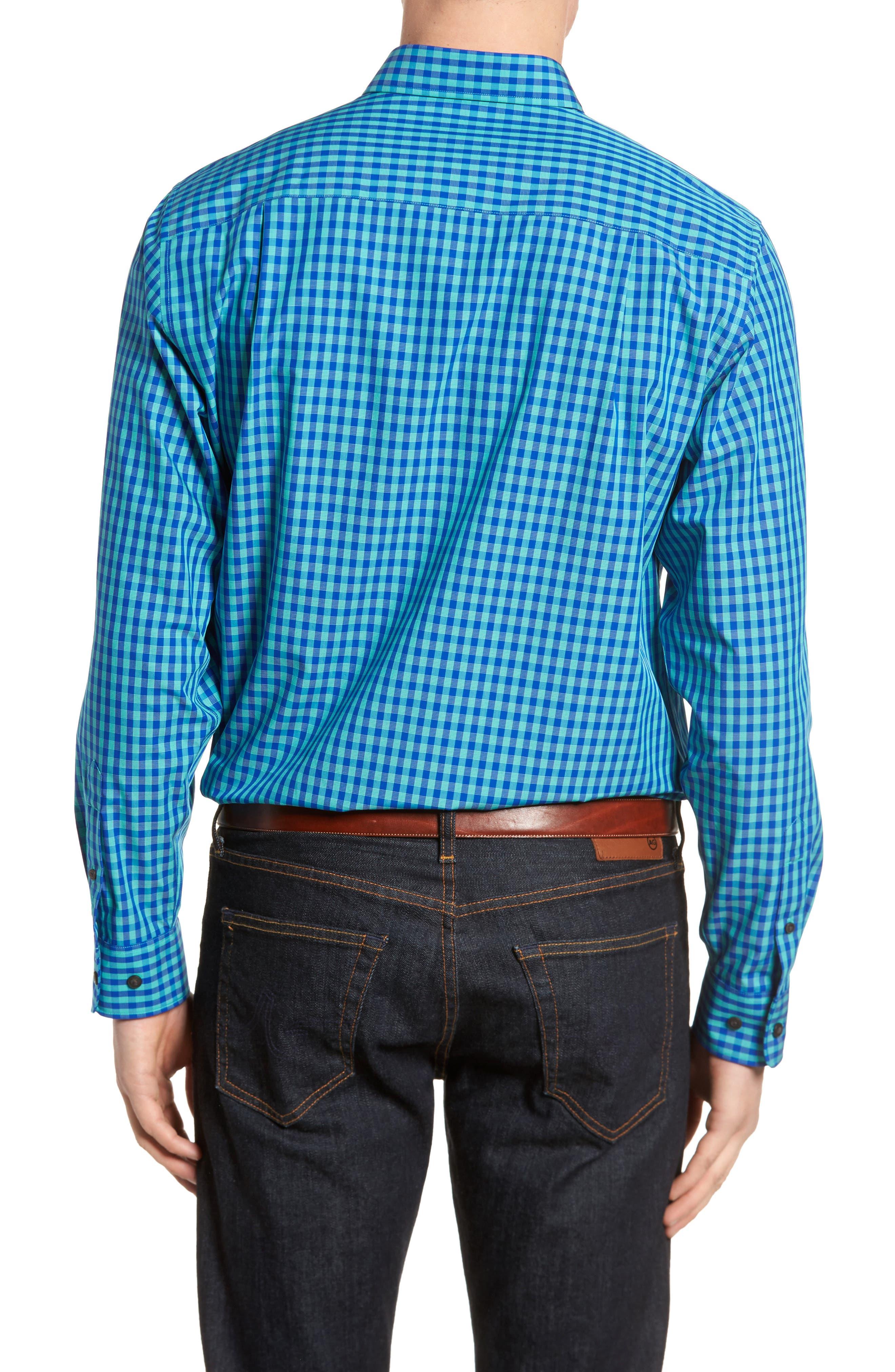 Myles Non-Iron Check Sport Shirt,                             Alternate thumbnail 2, color,                             Newport