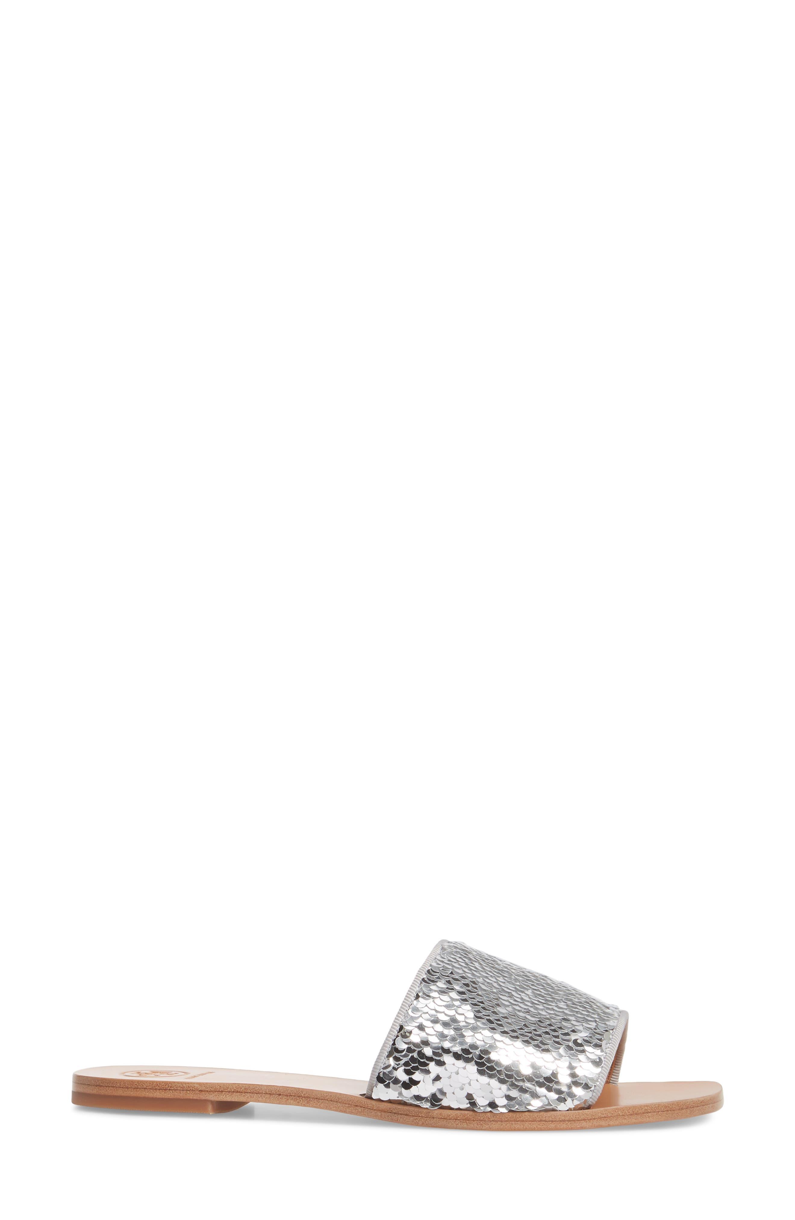 Carter Sequin Slide Sandal,                             Alternate thumbnail 3, color,                             Silver/ Perfect White
