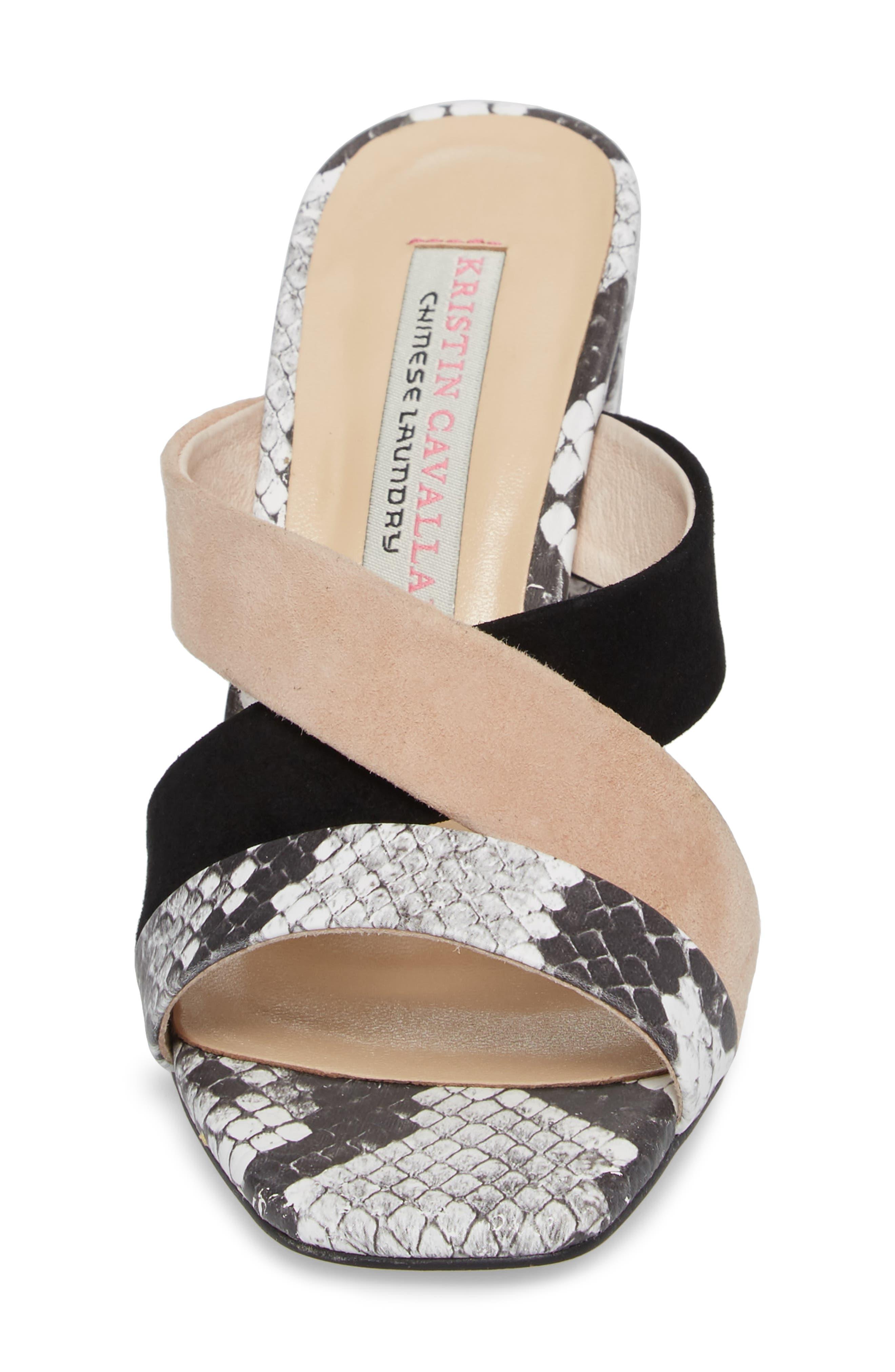 Lola Slide Sandal,                             Alternate thumbnail 4, color,                             Grey/ White Print Leather
