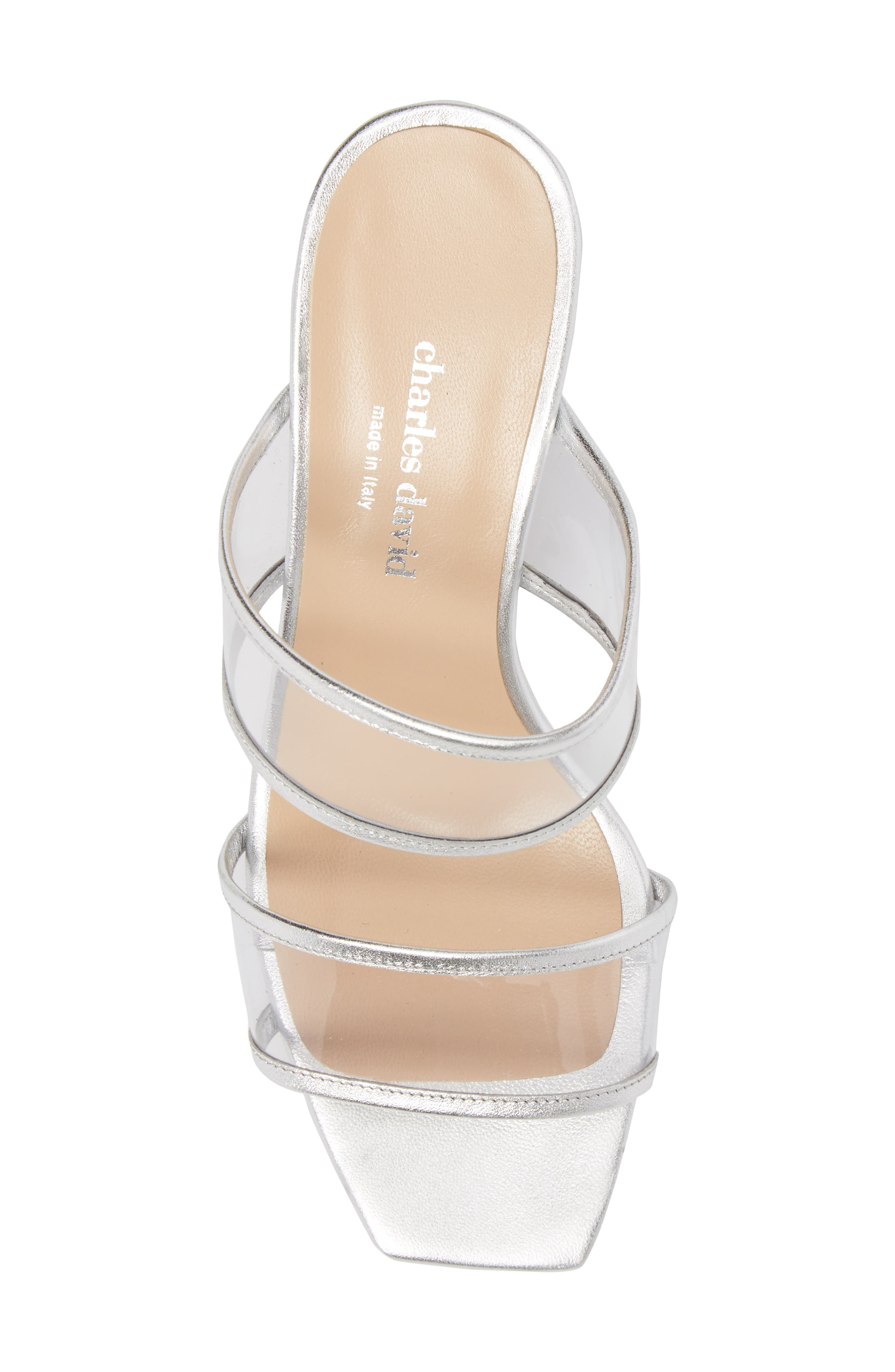Cally Transparent Strap Slide Sandal,                             Alternate thumbnail 5, color,                             Silver