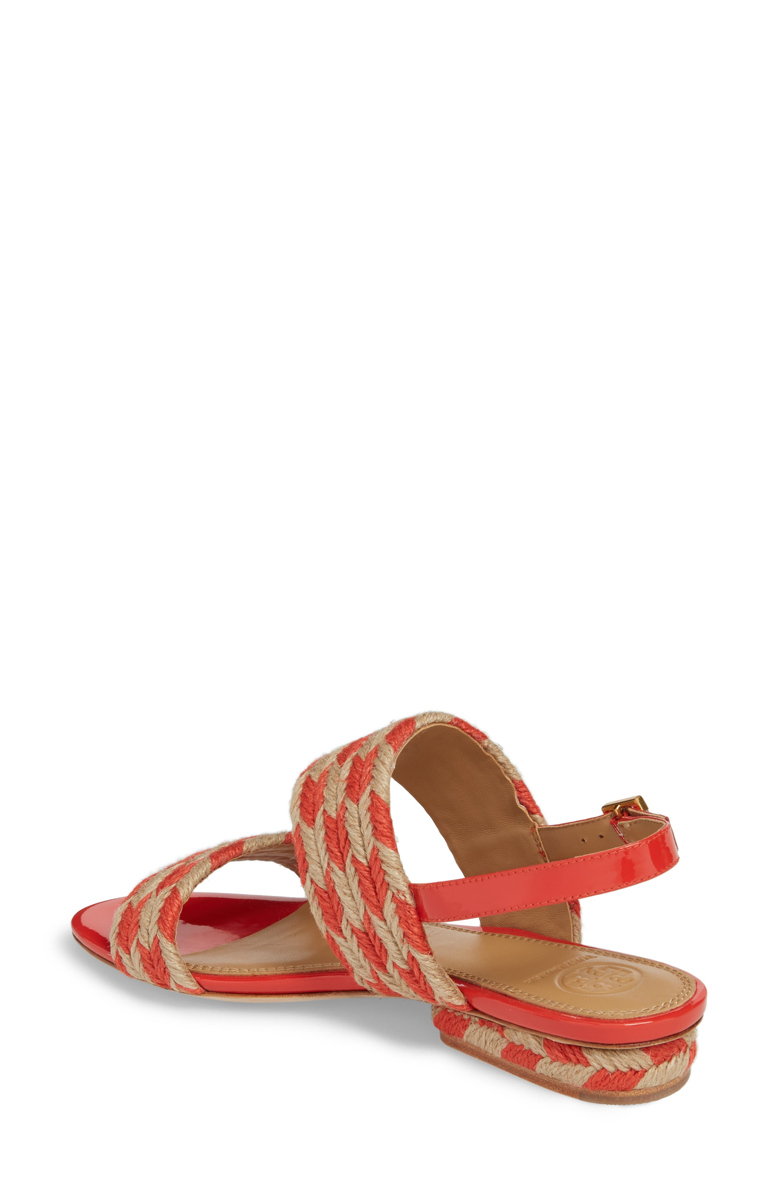 Lola Slingback Sandal,                             Alternate thumbnail 2, color,                             Poppy Orange/ Perfect Ivory
