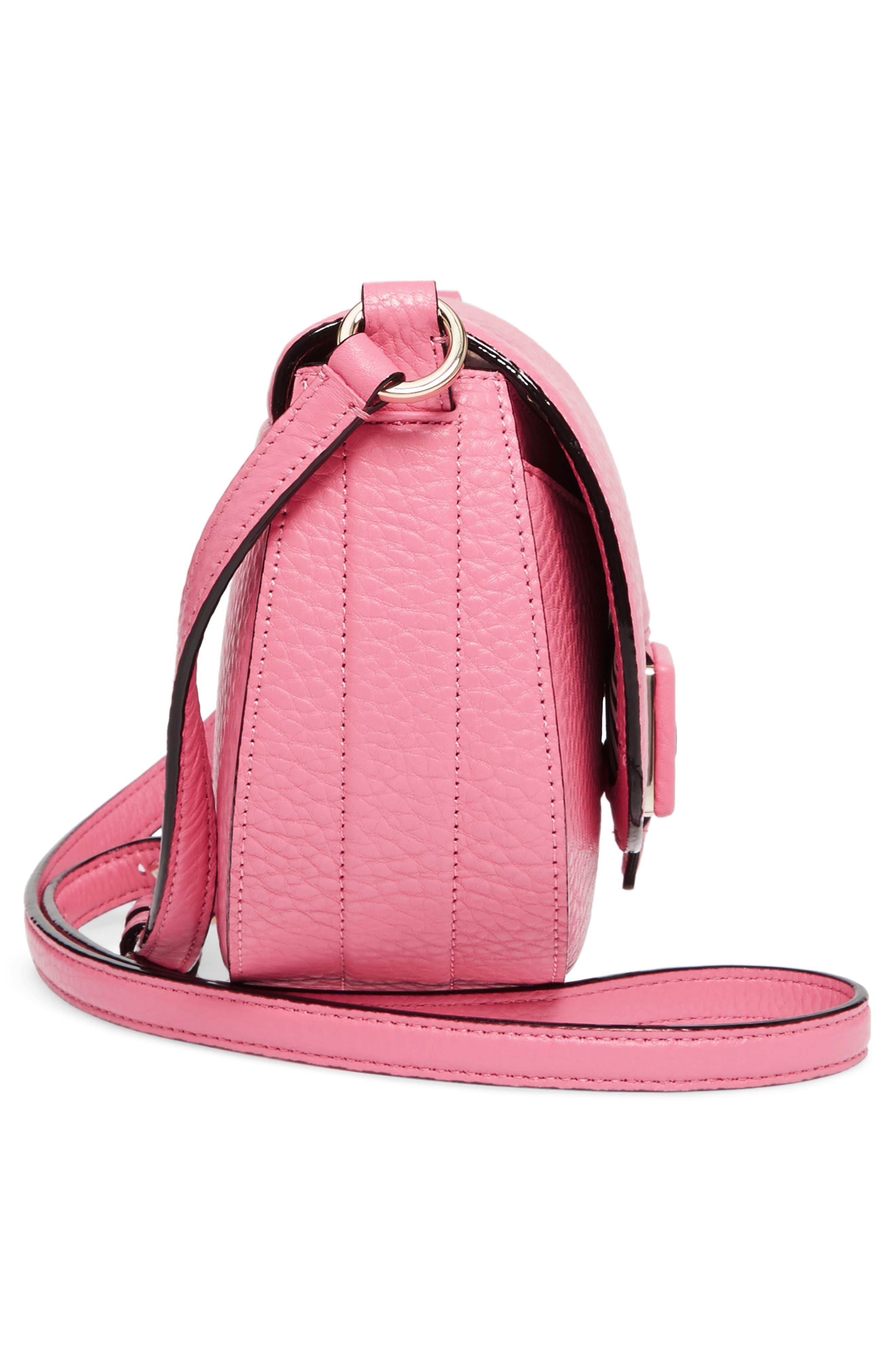 carlyle street - kallie leather saddle bag,                             Alternate thumbnail 5, color,                             Pink Sunset
