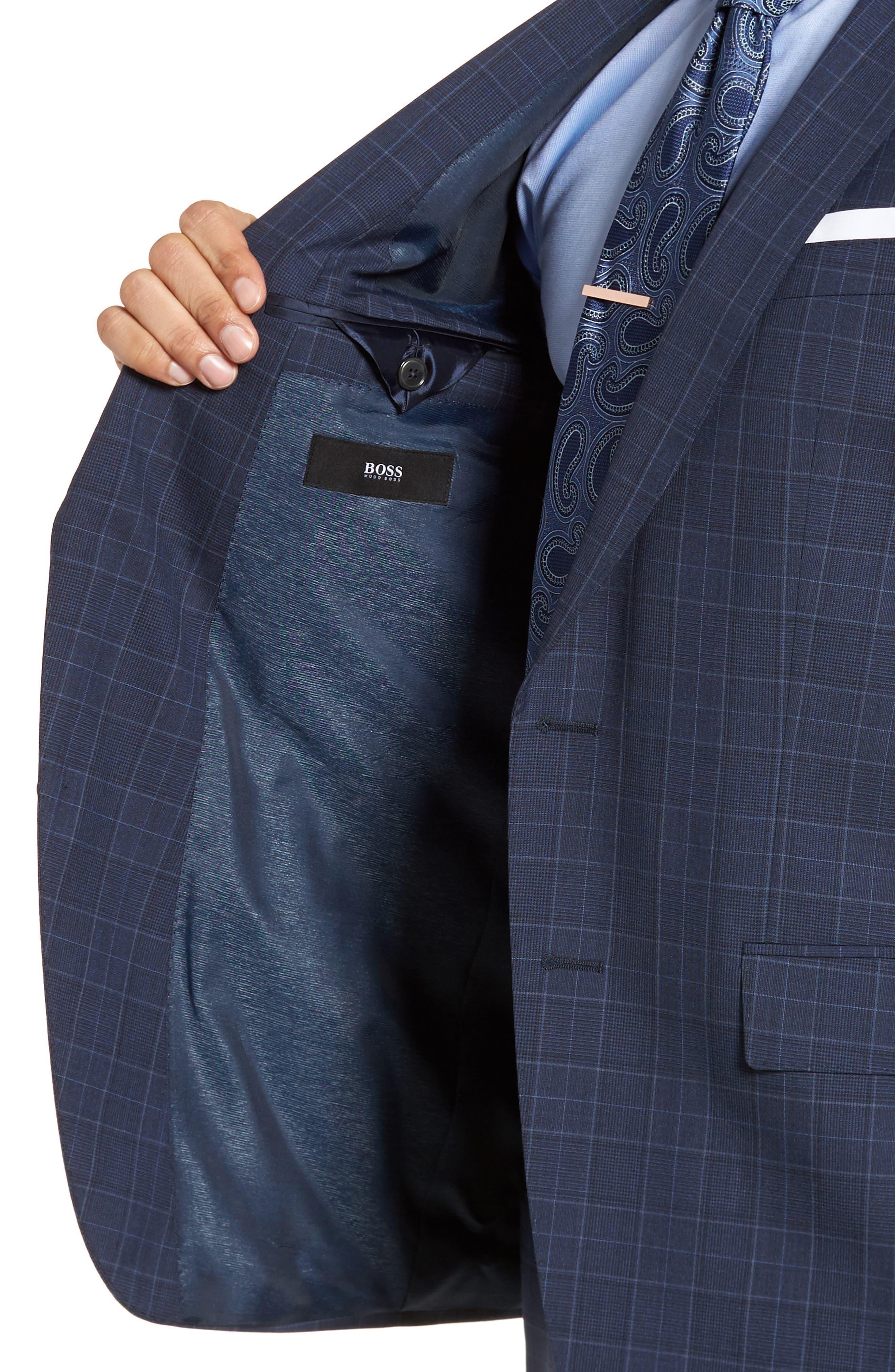 Hutson/Gander Trim Fit Plaid Wool Suit,                             Alternate thumbnail 4, color,                             Navy