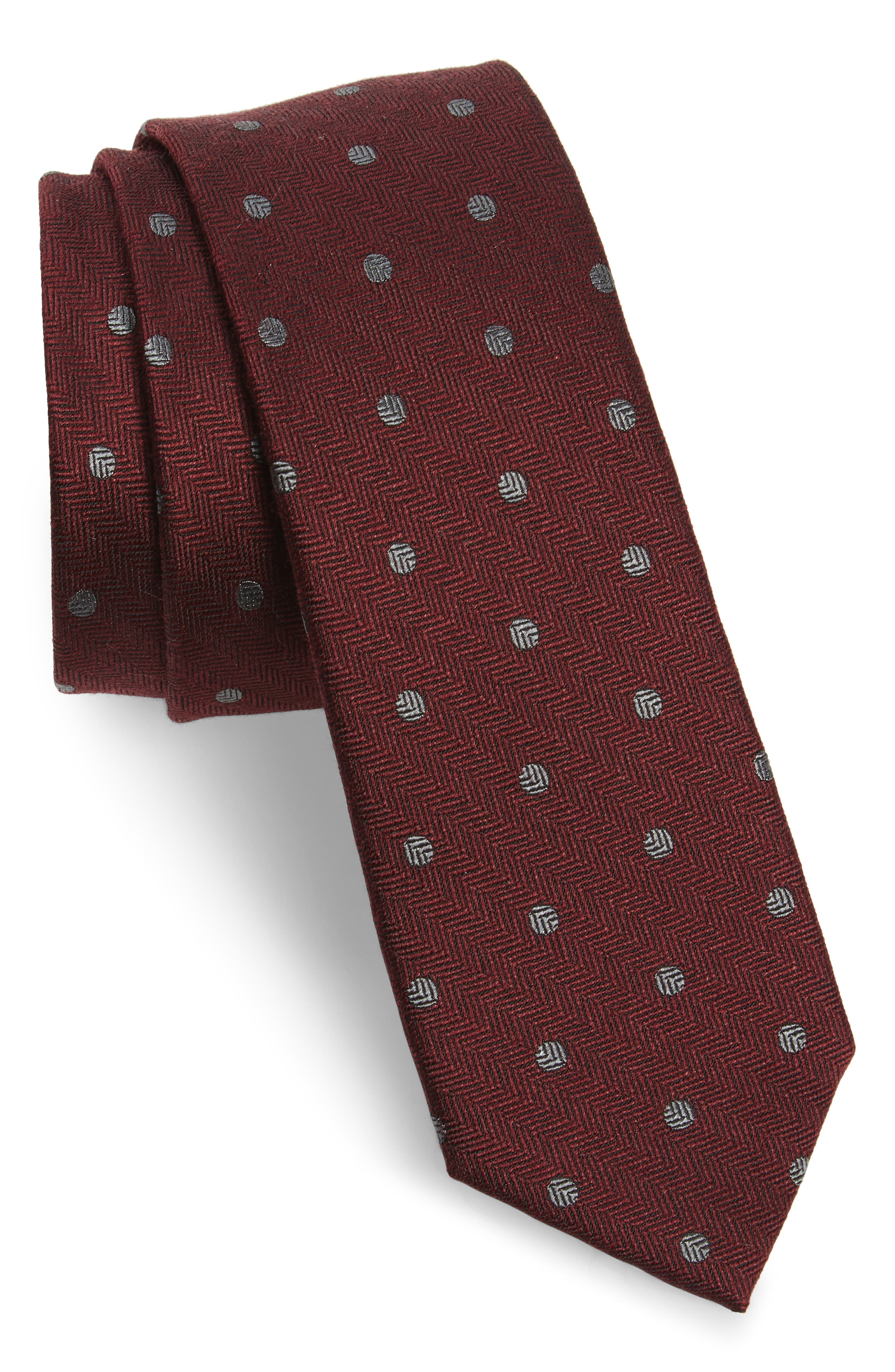 Main Image - The Tie Bar Dotted Hitch Silk & Wool Skinny Tie