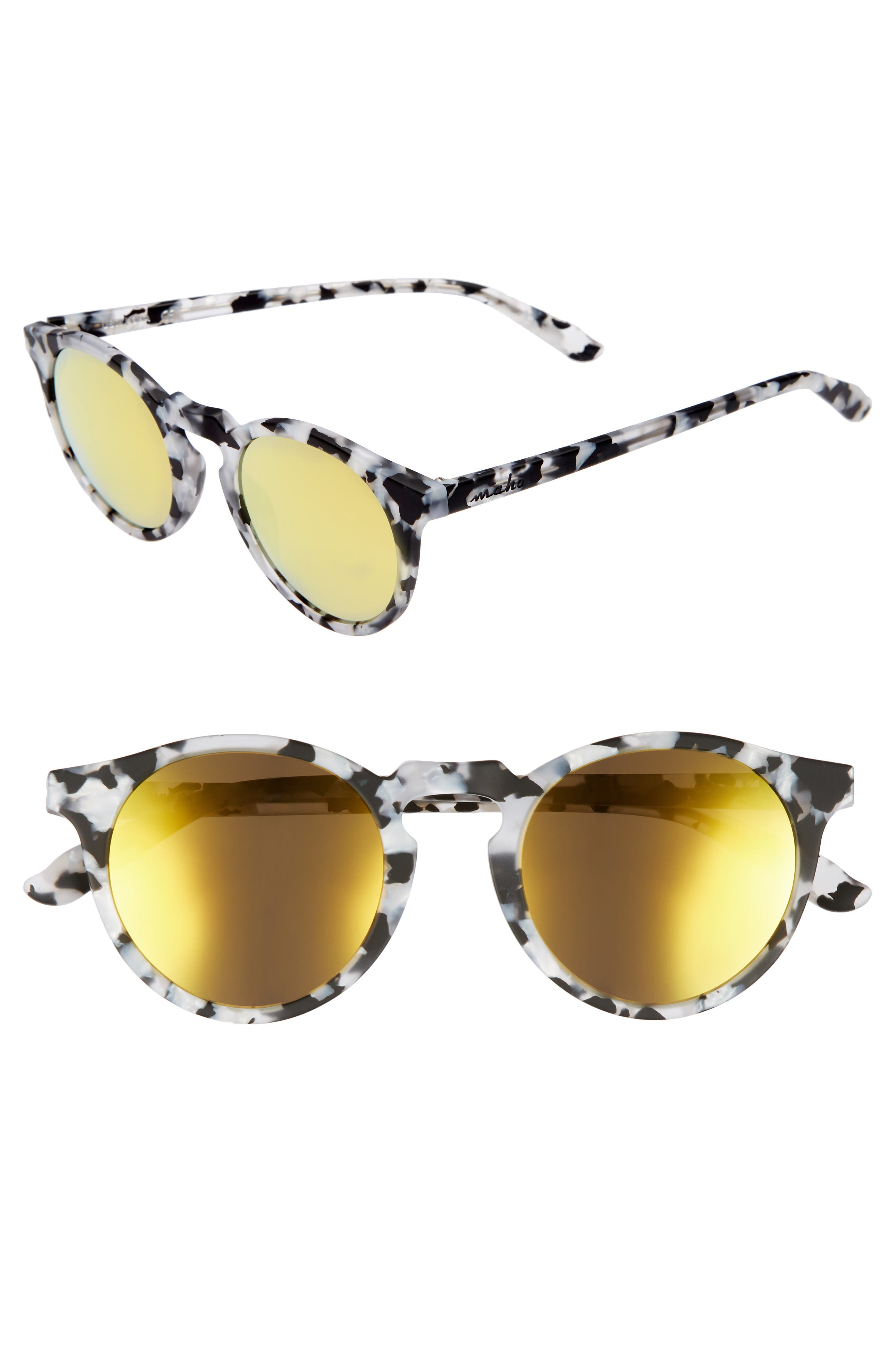 Stockholm 48mm Polarized Round Sunglasses,                         Main,                         color, Marble