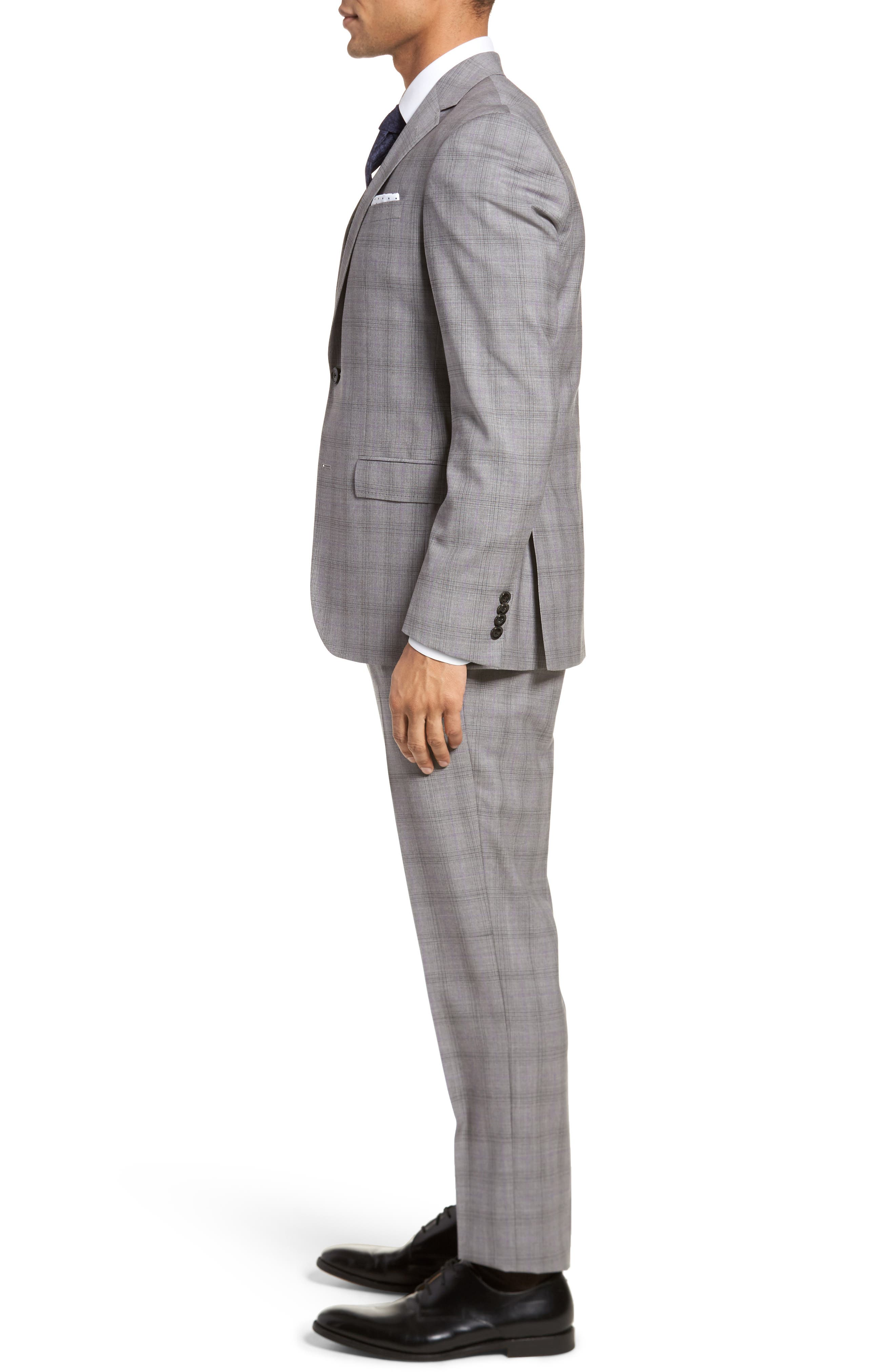 Jay Trim Fit Plaid Wool Suit,                             Alternate thumbnail 3, color,                             Light Grey
