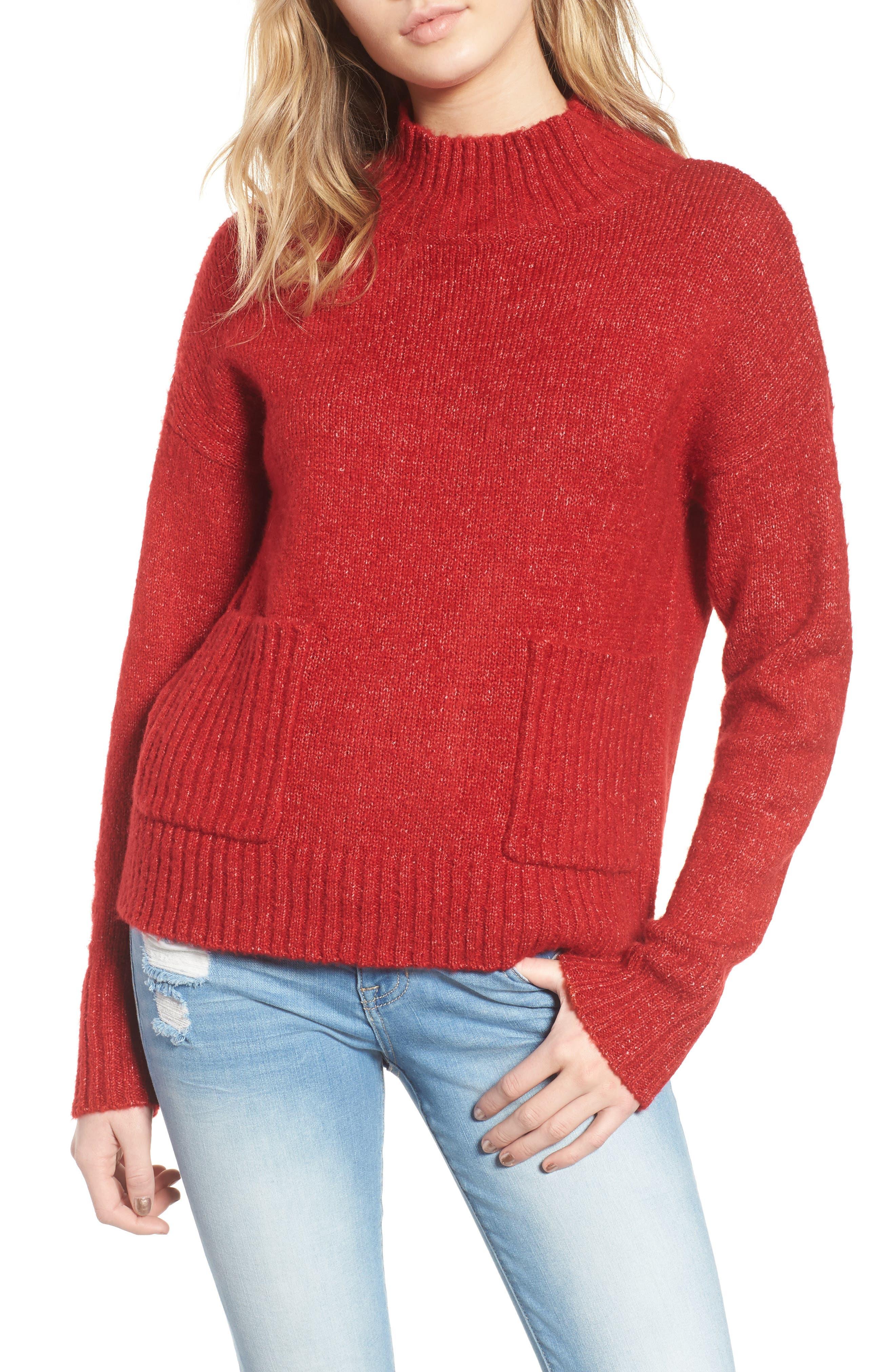 Mock Neck Patch Pocket Pullover,                         Main,                         color, Red