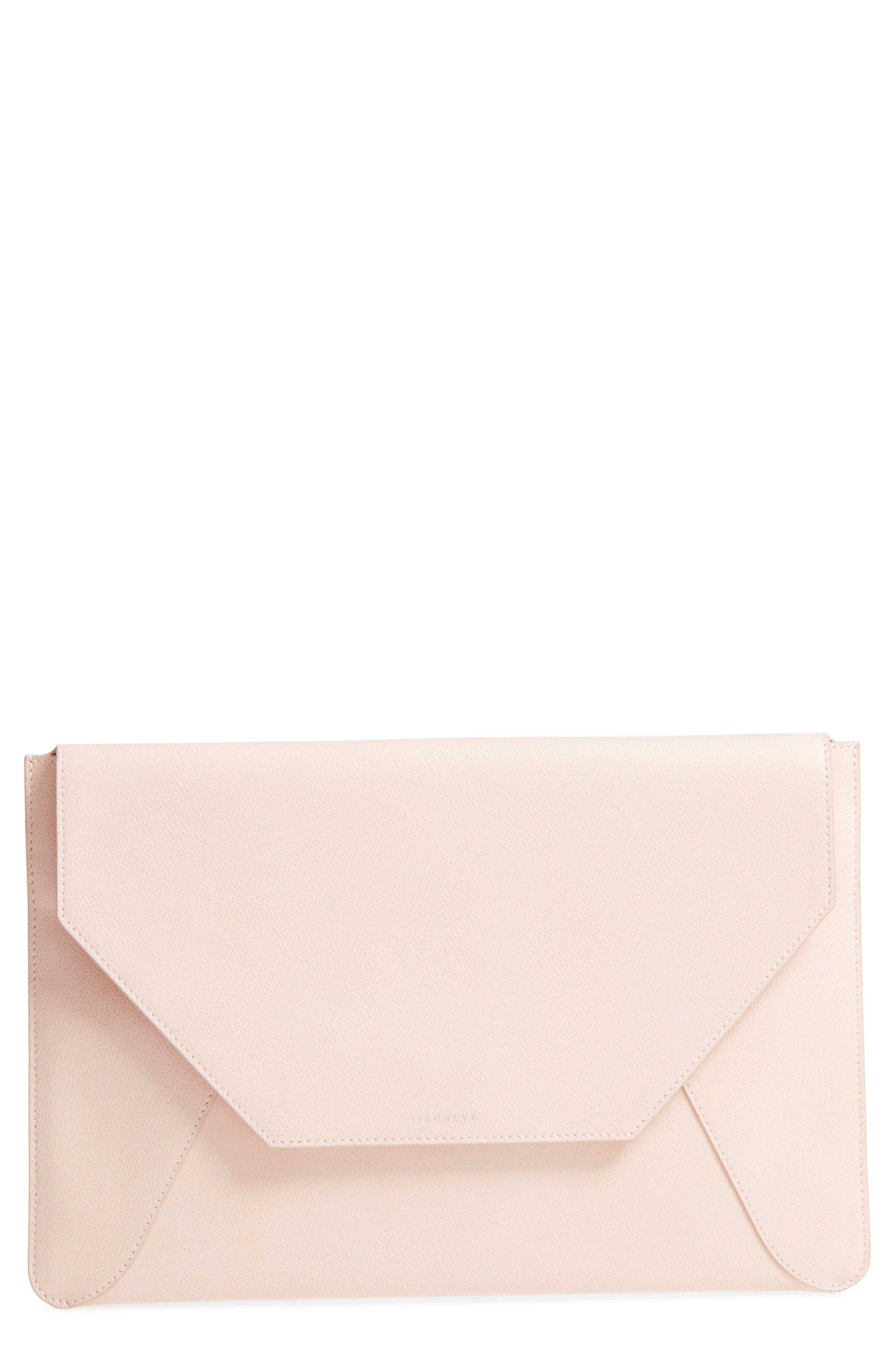 Pebbled Leather Envelope Clutch,                             Main thumbnail 1, color,                             Blush