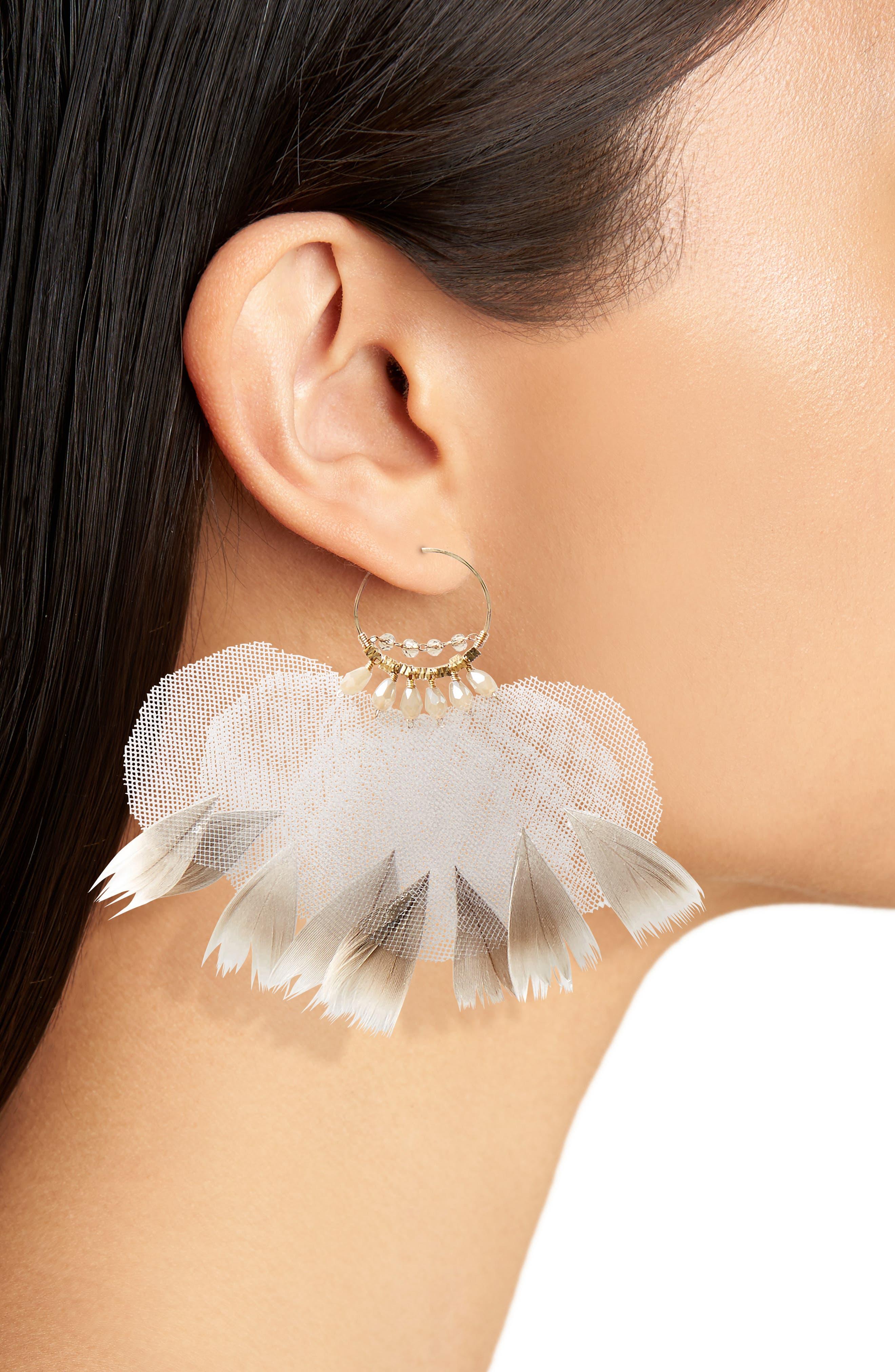 Ballerina Feather Hoop Earrings,                             Alternate thumbnail 2, color,                             Brown Overflow