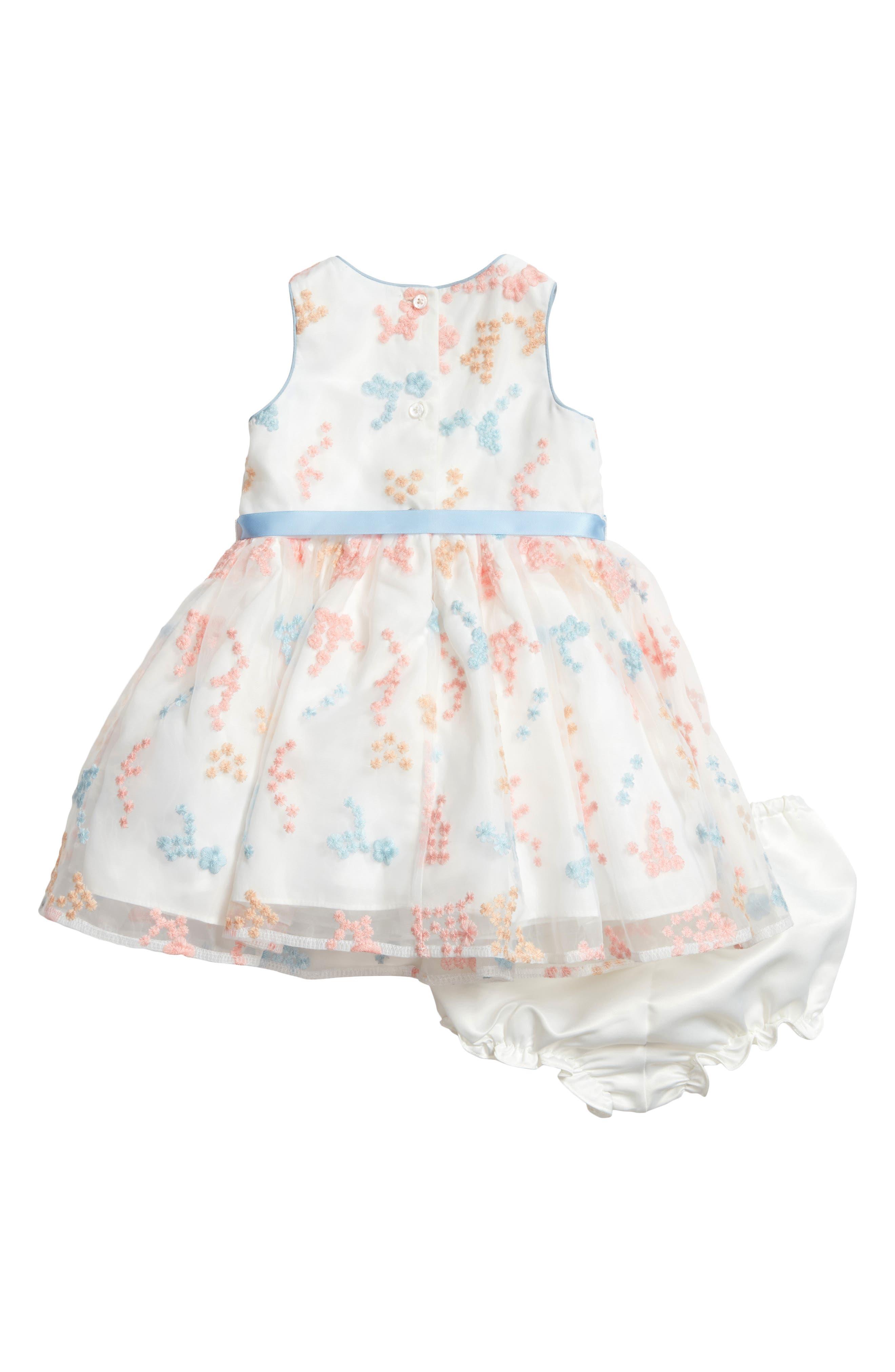 Embroidered Flower Dress,                             Alternate thumbnail 2, color,                             Ivory Multi