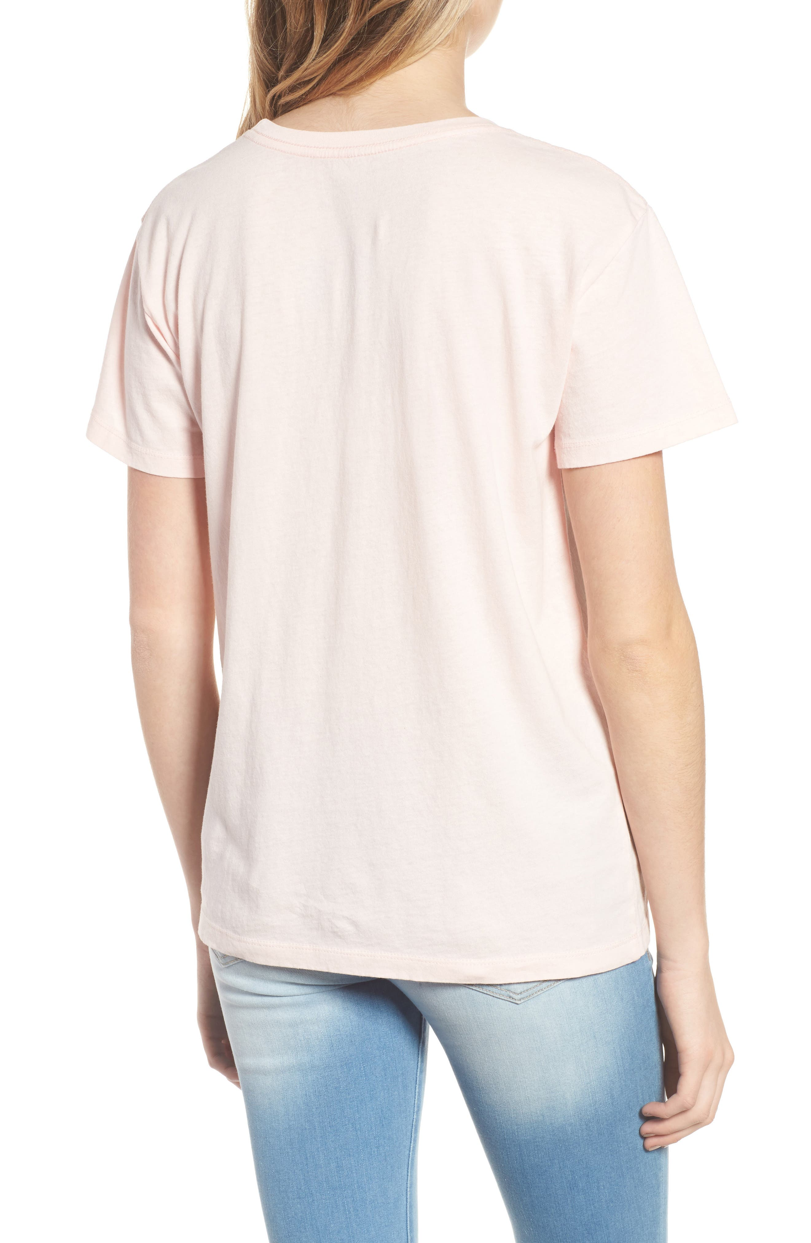 Los Angeles Cotton Boyfriend Tee,                             Alternate thumbnail 2, color,                             Washed Pale Pink