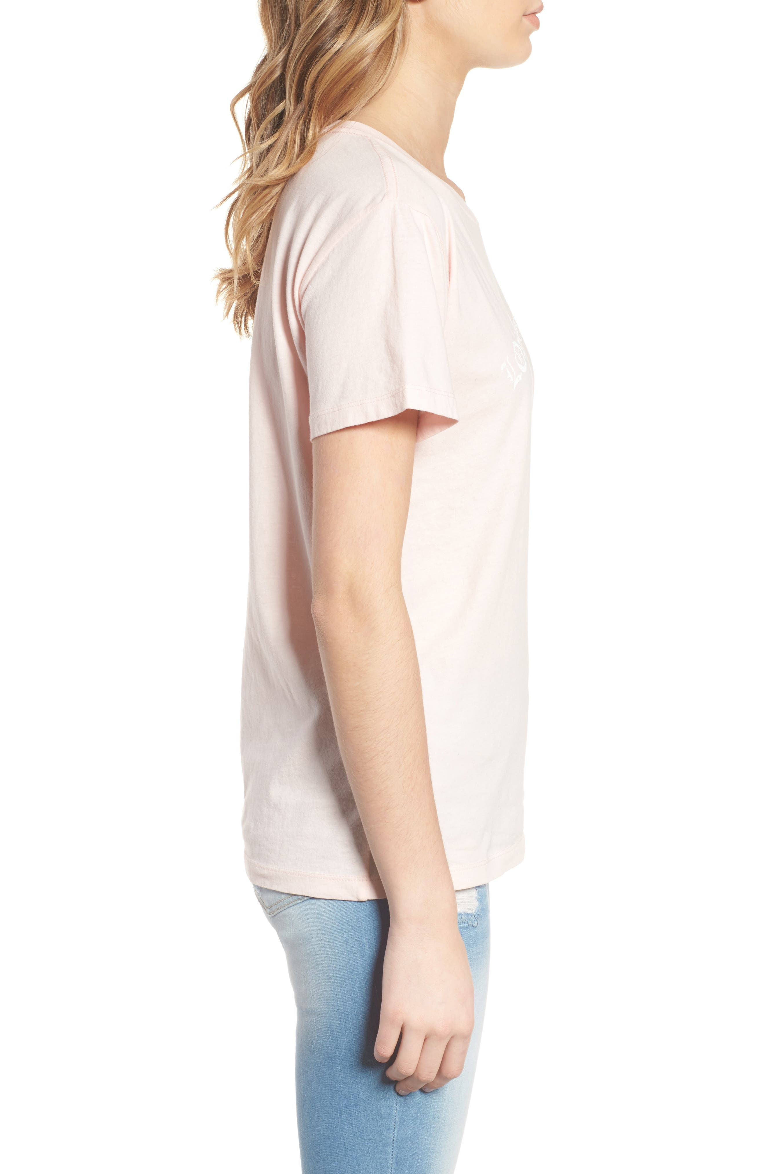 Los Angeles Cotton Boyfriend Tee,                             Alternate thumbnail 3, color,                             Washed Pale Pink