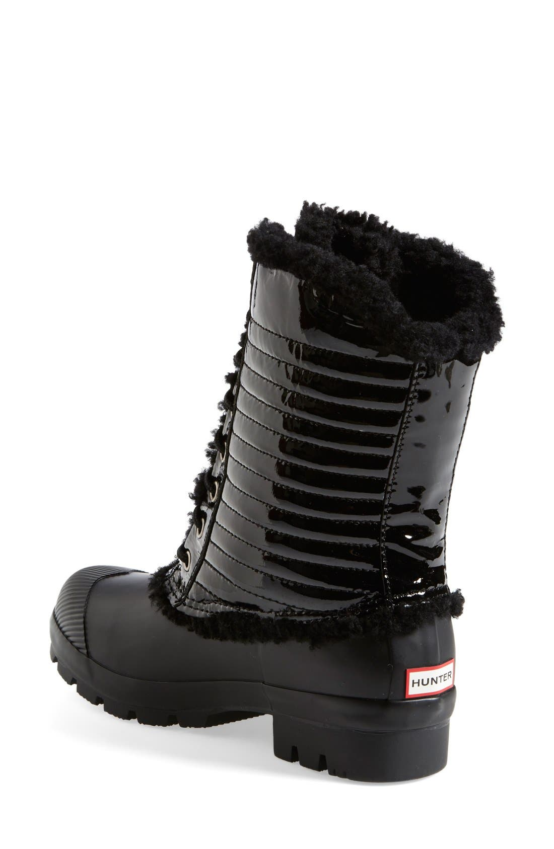 Alternate Image 2  - Hunter Original Genuine Shearling & Patent Leather Lace-Up Rain Boot (Women)