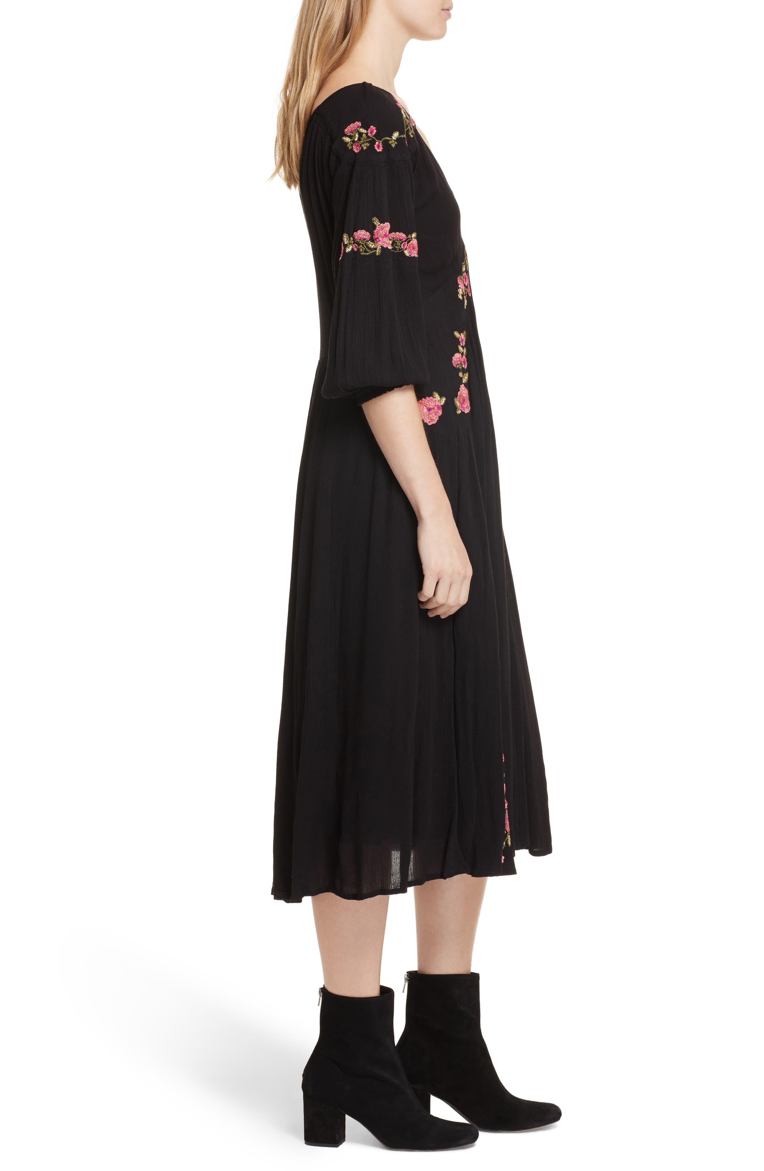 Day Glow Midi Dress,                             Alternate thumbnail 3, color,                             Black Combo