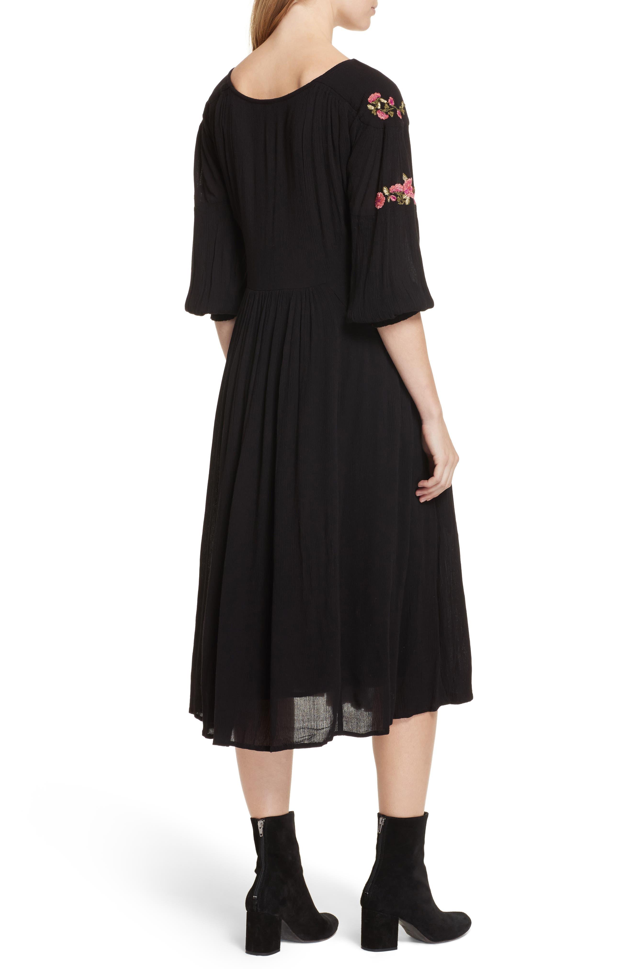 Day Glow Midi Dress,                             Alternate thumbnail 2, color,                             Black Combo