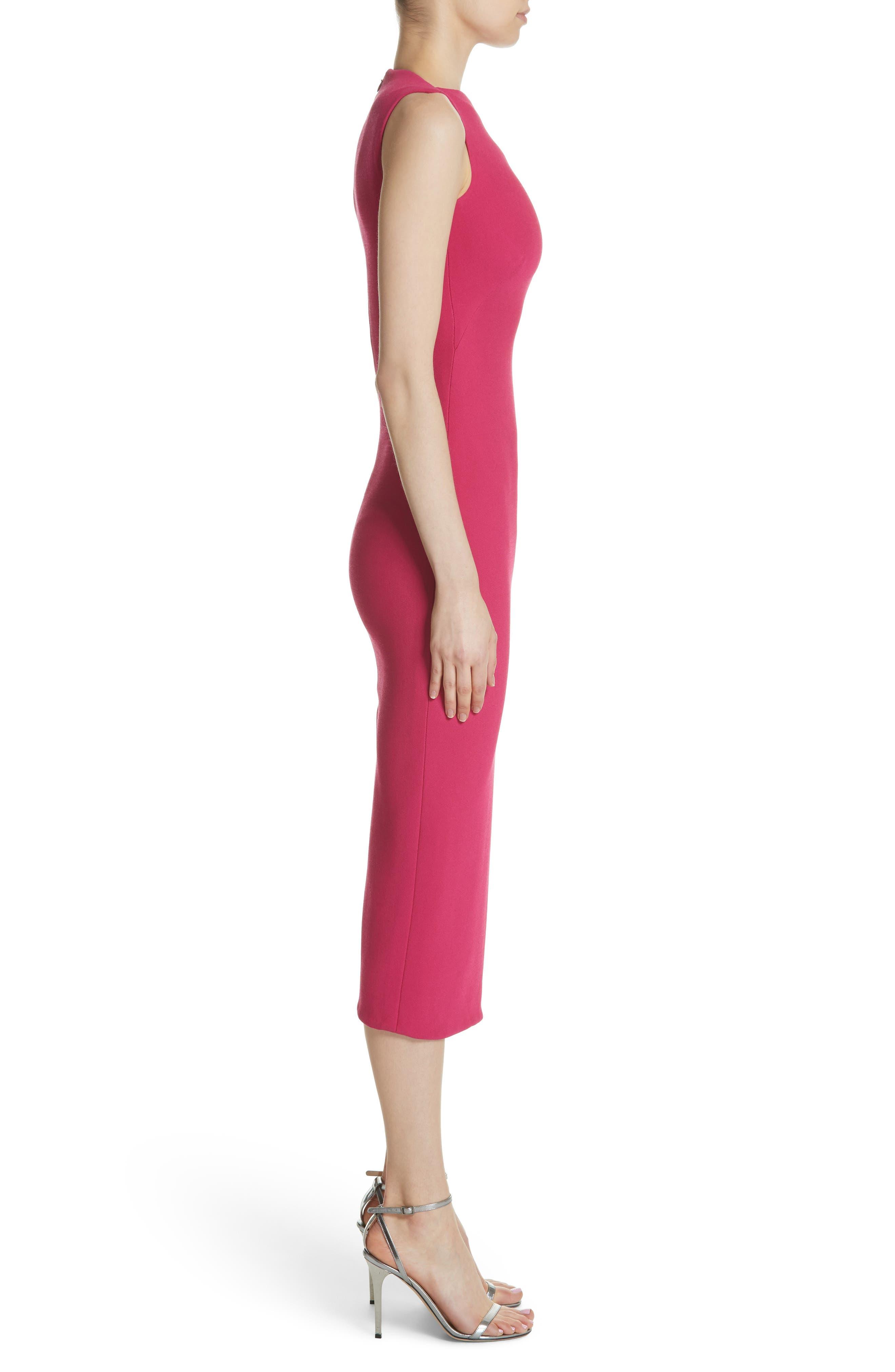 Sheath Midi Dress,                             Alternate thumbnail 3, color,                             Fuchsia