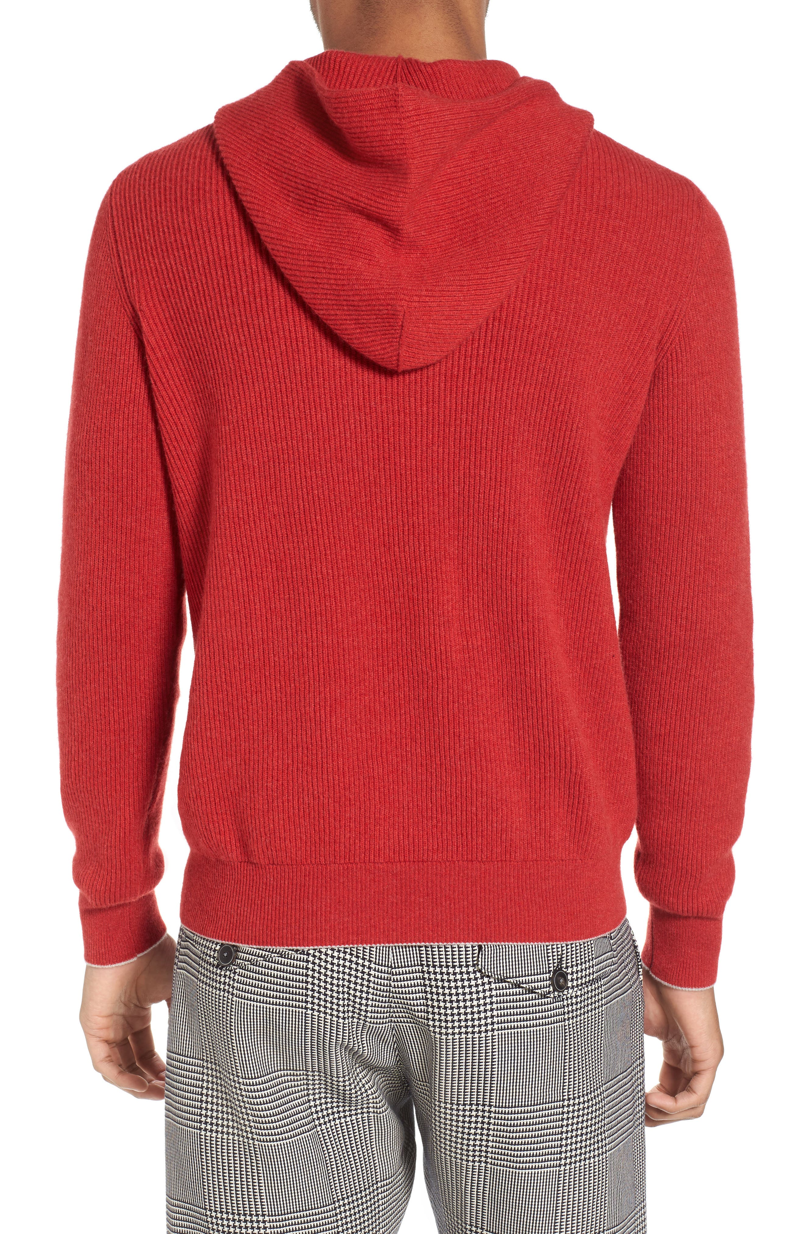 Cashmere Hoodie,                             Alternate thumbnail 2, color,                             Red