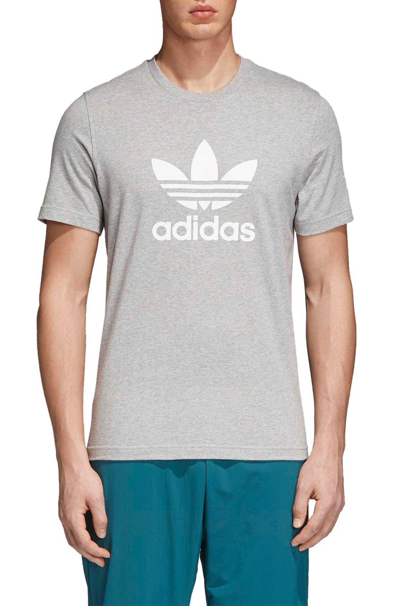 Trefoil T-Shirt,                         Main,                         color, Medium Grey Heather