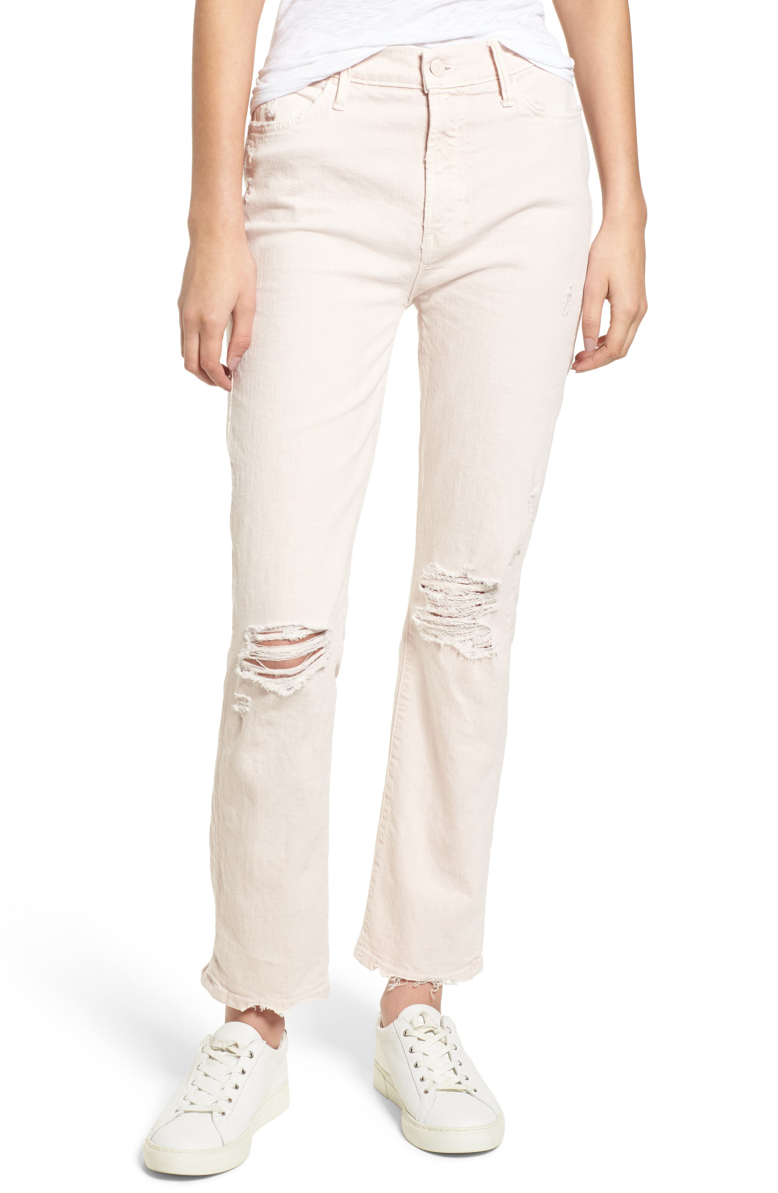 MOTHER The Rascal High Waist Ankle Straight Leg Jeans (Soft Pink)