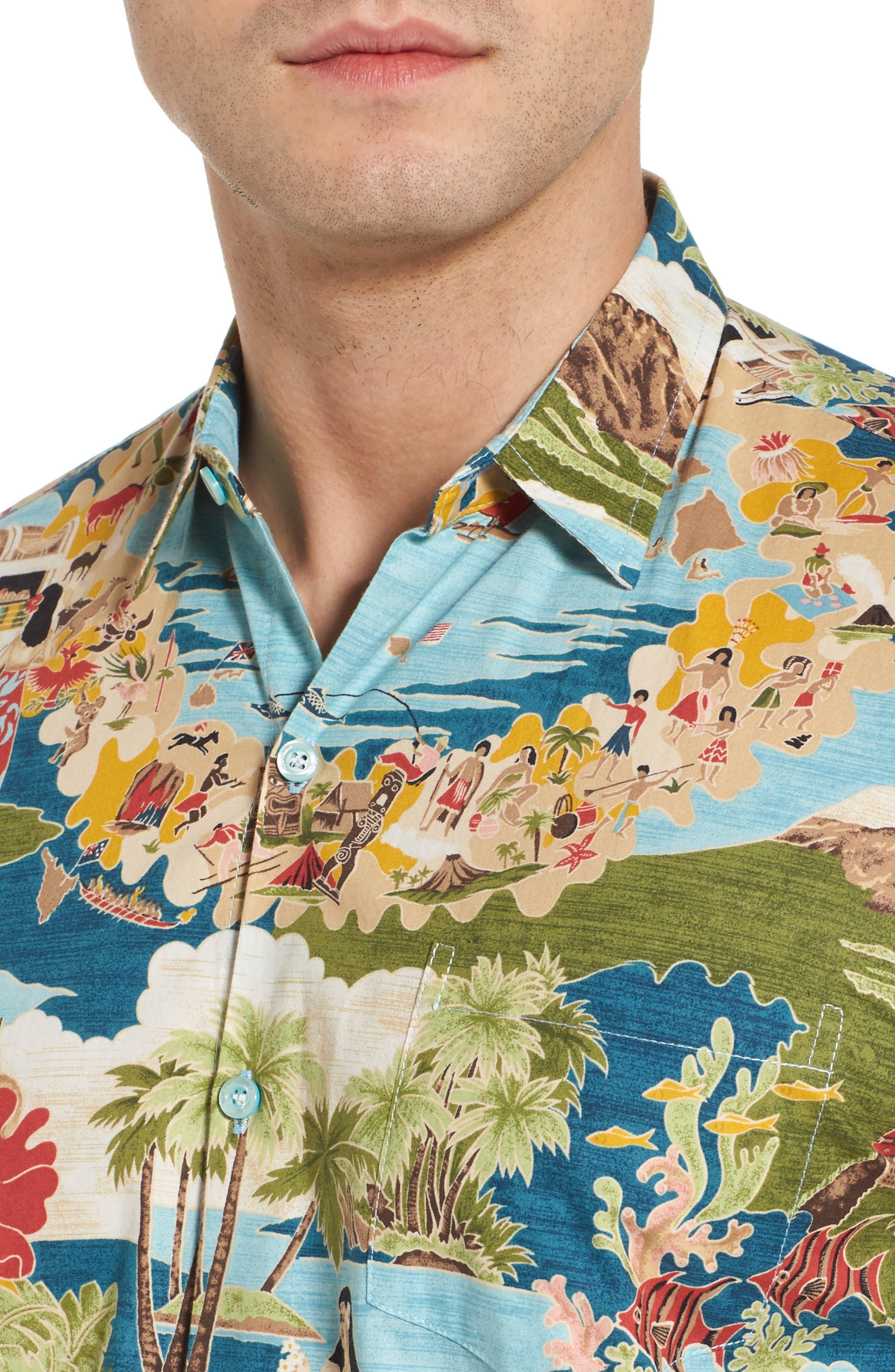 Boat Day Aloha Sport Shirt,                             Alternate thumbnail 4, color,                             Lagoon