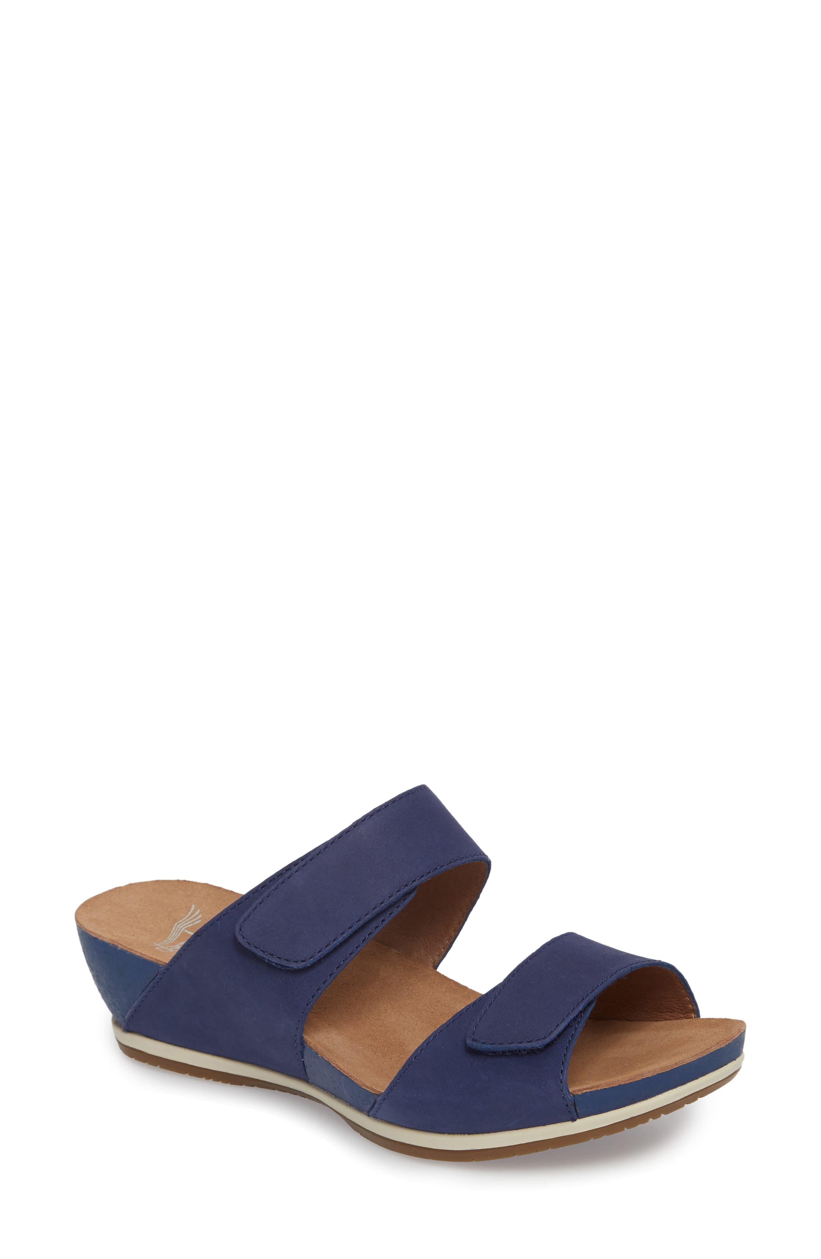 Vienna Slide Sandal,                             Main thumbnail 1, color,                             Blue Milled Nubuck Leather