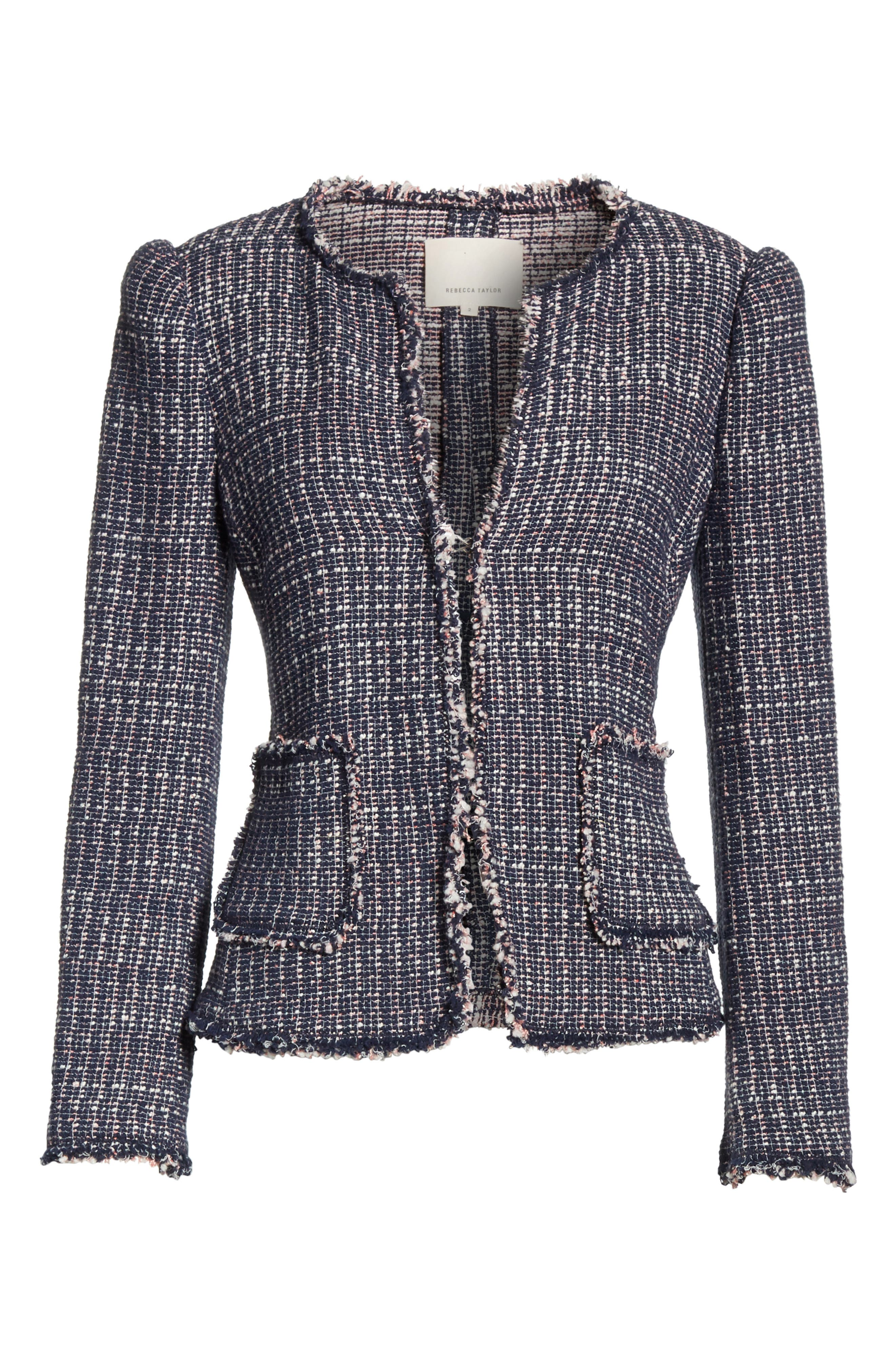 Multi Tweed Jacket,                             Alternate thumbnail 6, color,                             Navy Combo