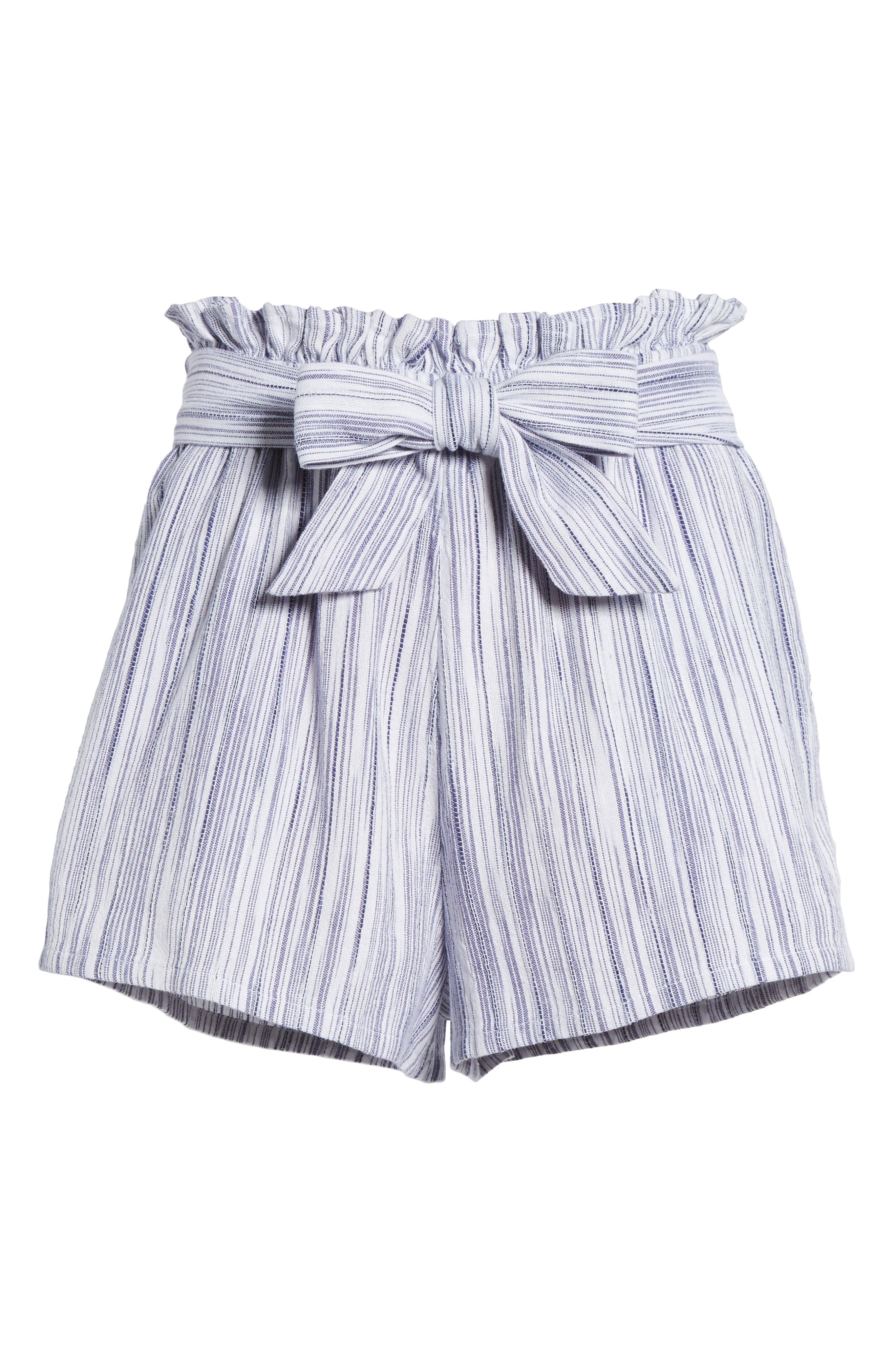 Stripe Paperbag Waist Shorts,                             Alternate thumbnail 7, color,                             Riviera Blue
