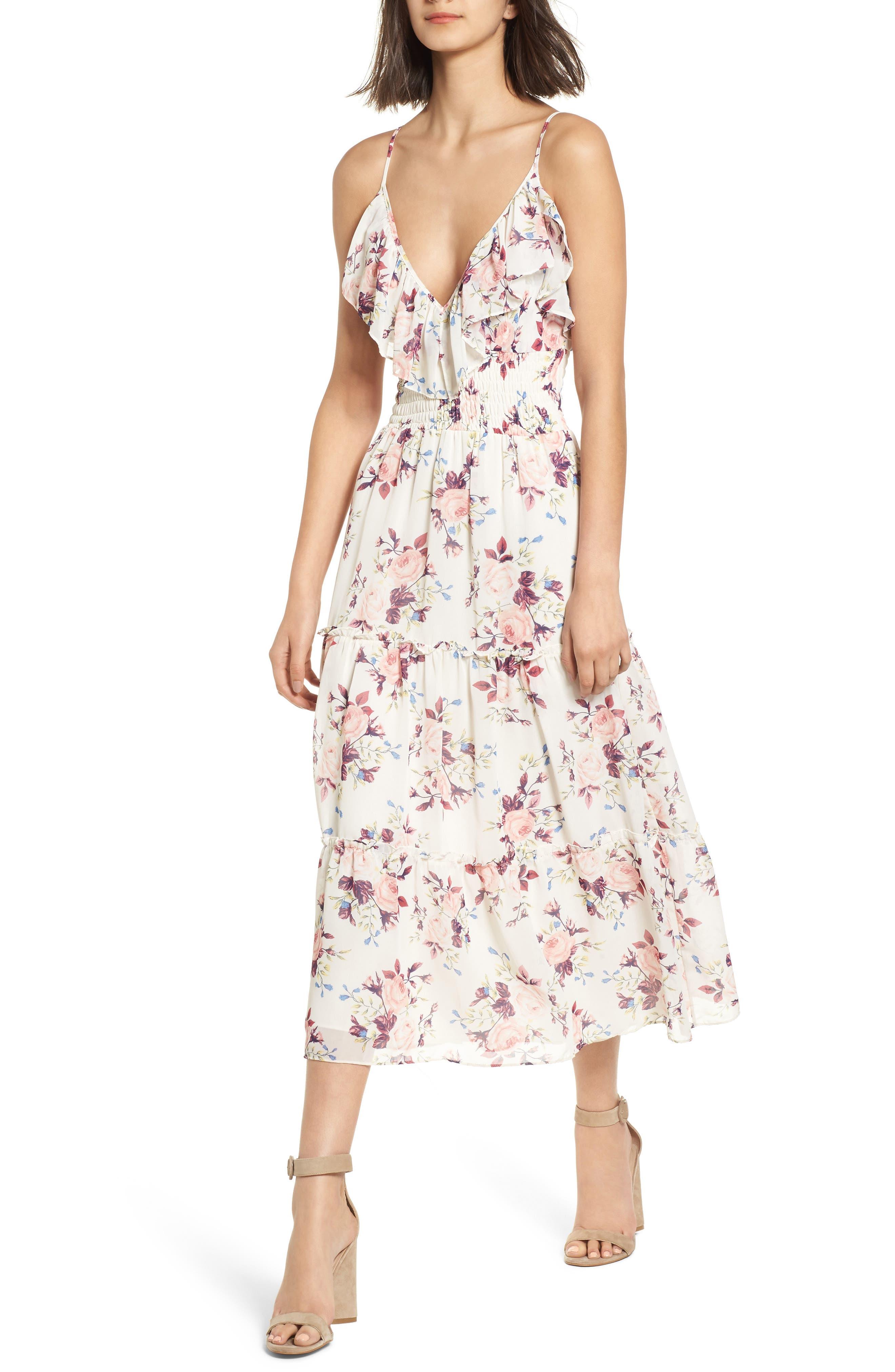 Aviana Midi Dress,                             Main thumbnail 1, color,                             White/ Multi Em10