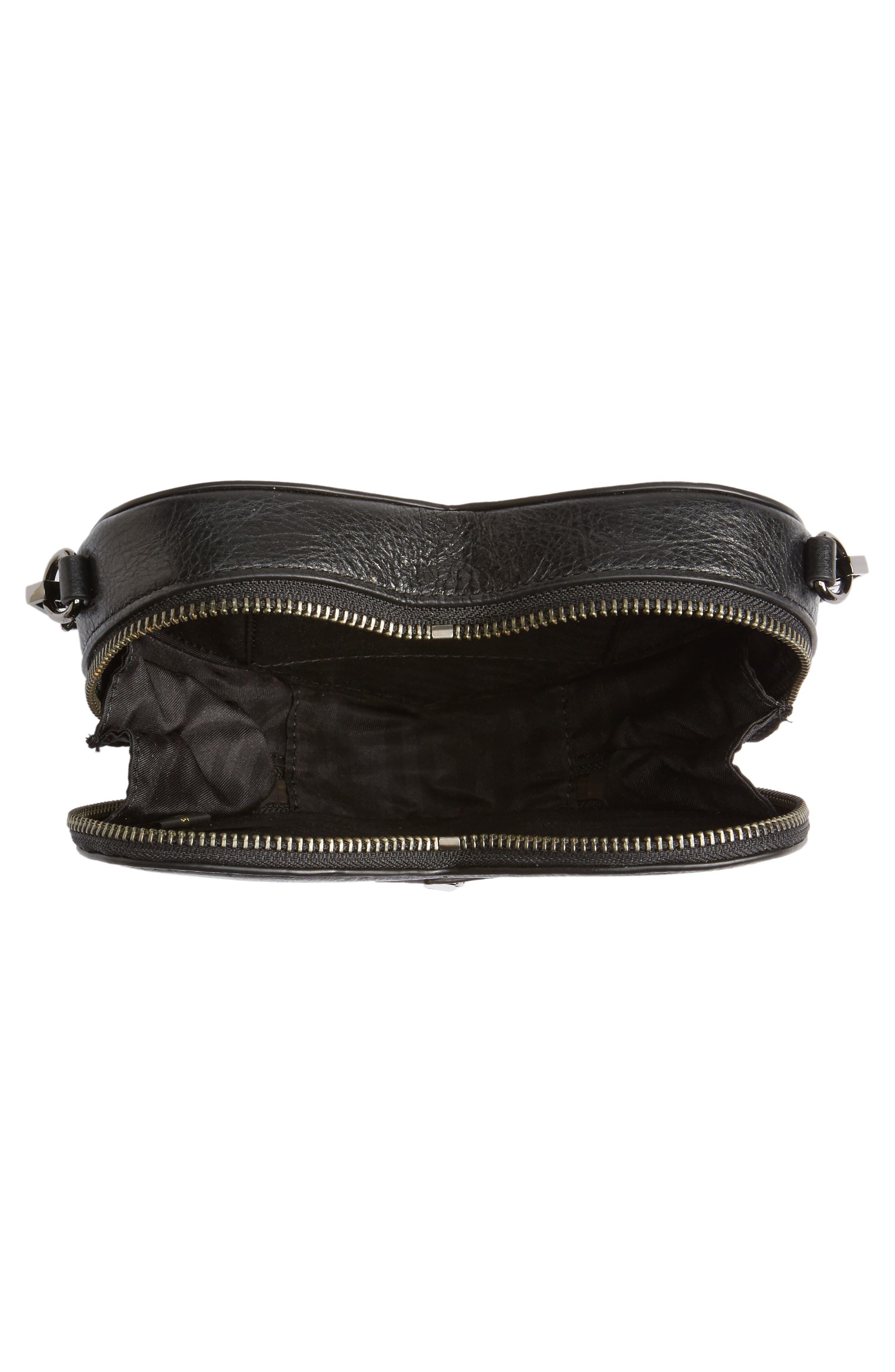 Jamie Heart Leather Crossbody Bag,                             Alternate thumbnail 5, color,                             Black
