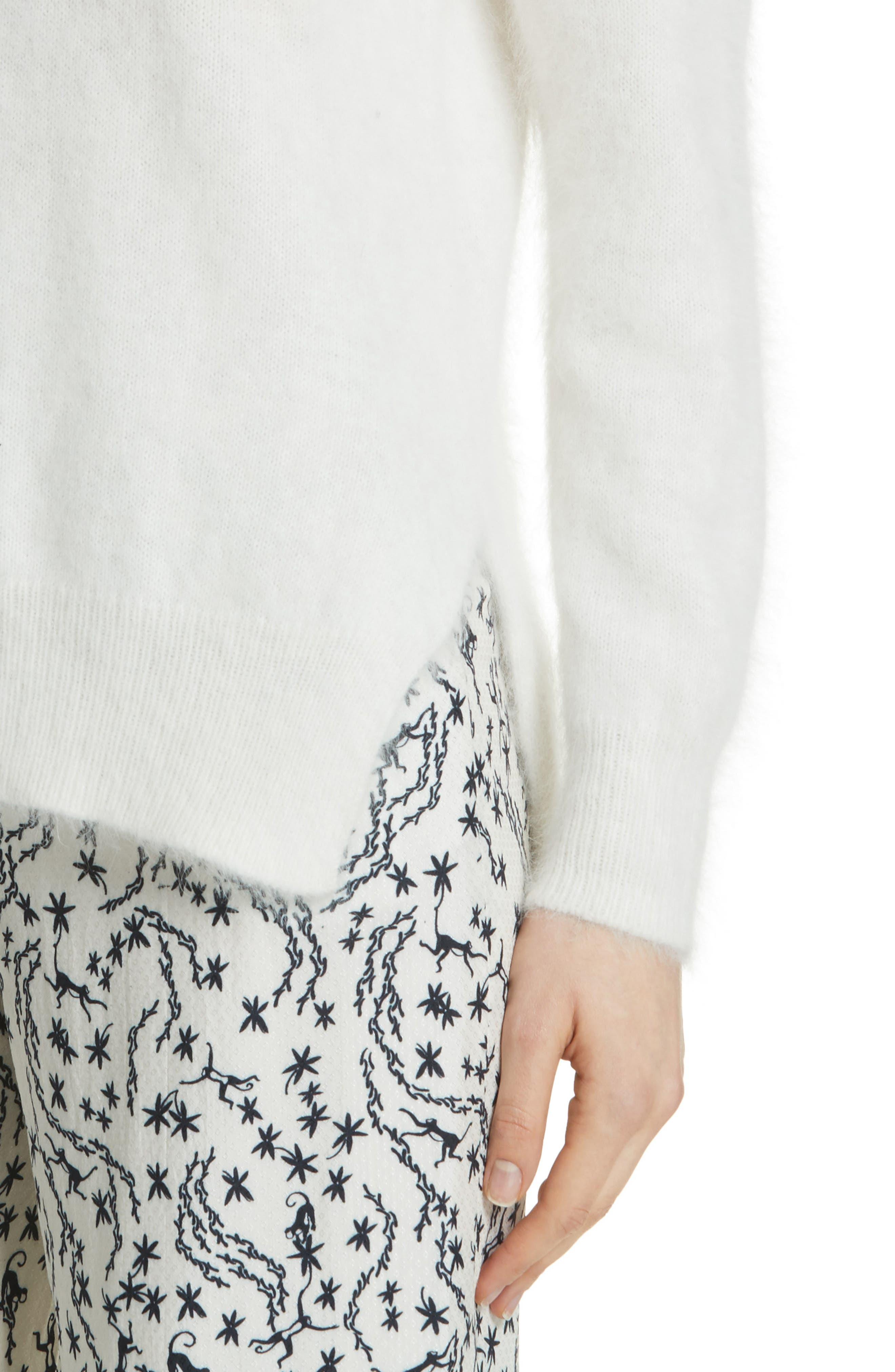 Step Hem Angora Sweater,                             Alternate thumbnail 4, color,                             Off White