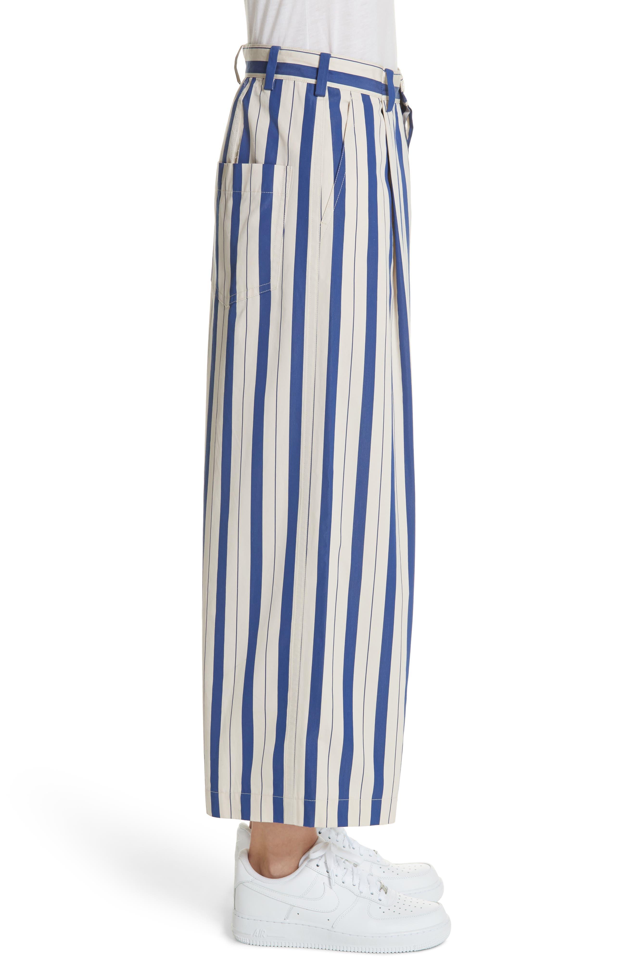 Stripe Wide Leg Pants,                             Alternate thumbnail 3, color,                             Blue Lagoon