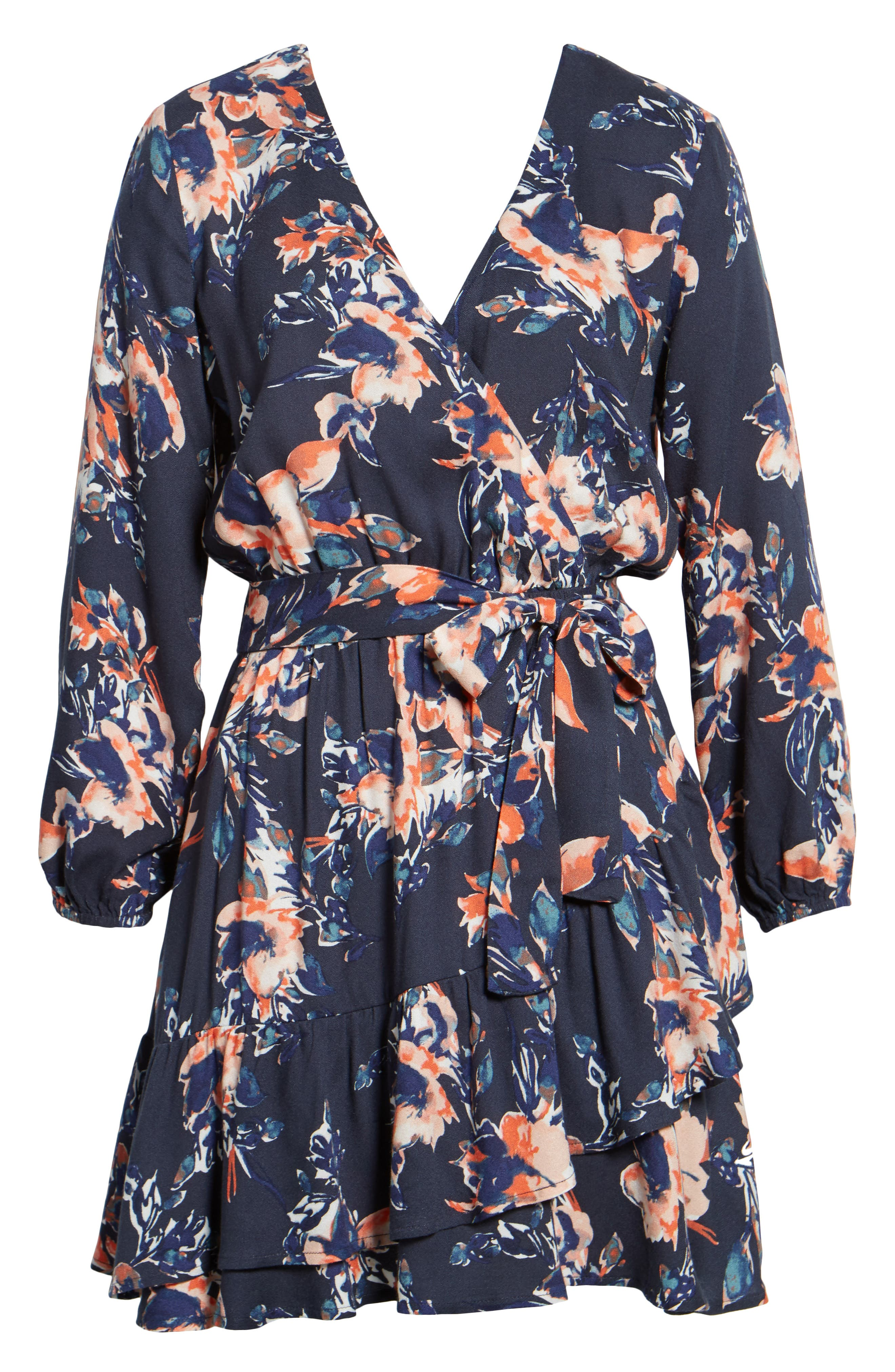 Painted Floral Wrap Dress,                             Alternate thumbnail 6, color,                             Navy
