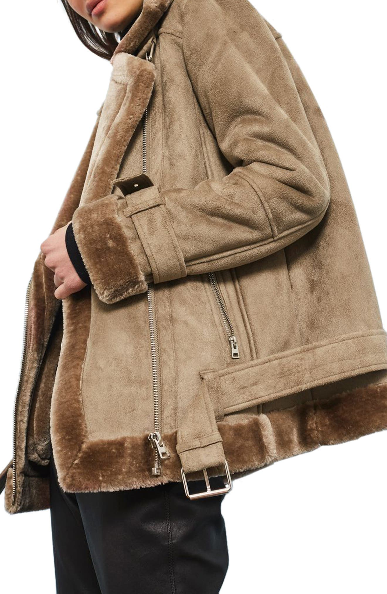 Alternate Image 3  - Topshop Faux Shearling Biker Jacket