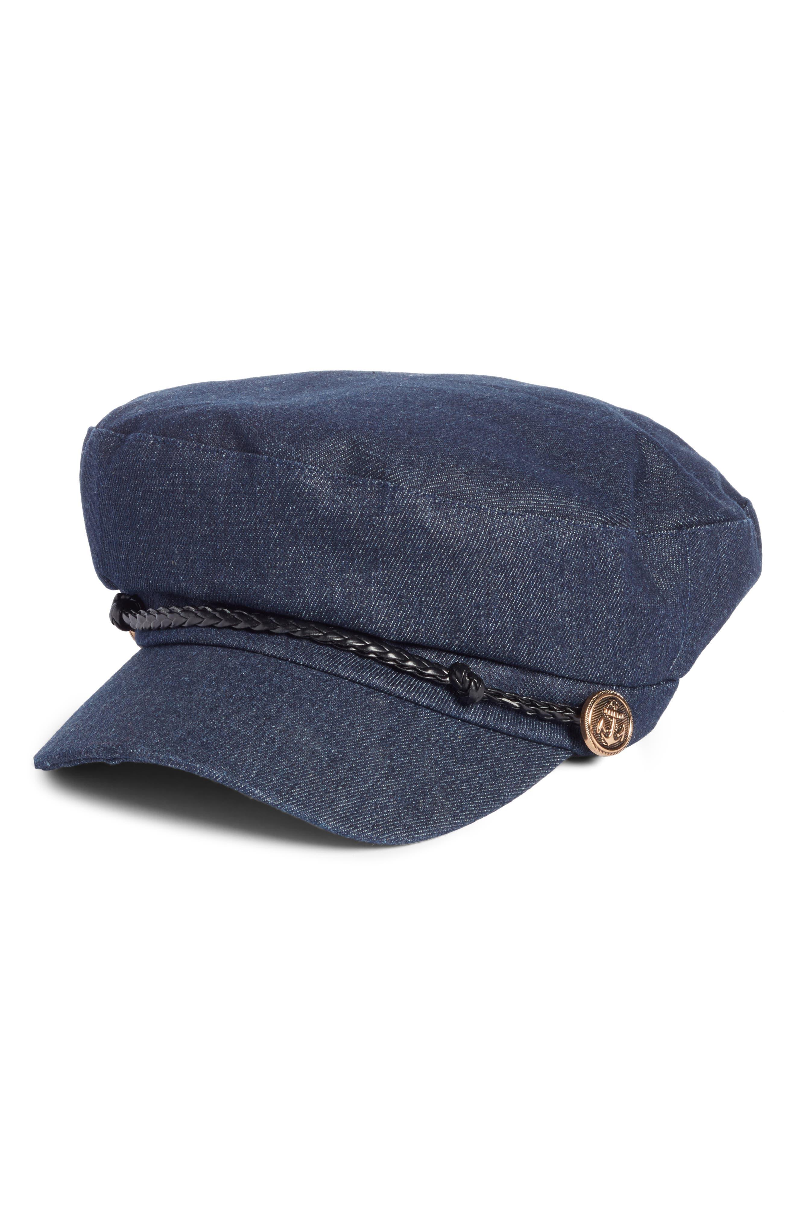 Denim Captain Hat,                             Main thumbnail 1, color,                             Dark Blue